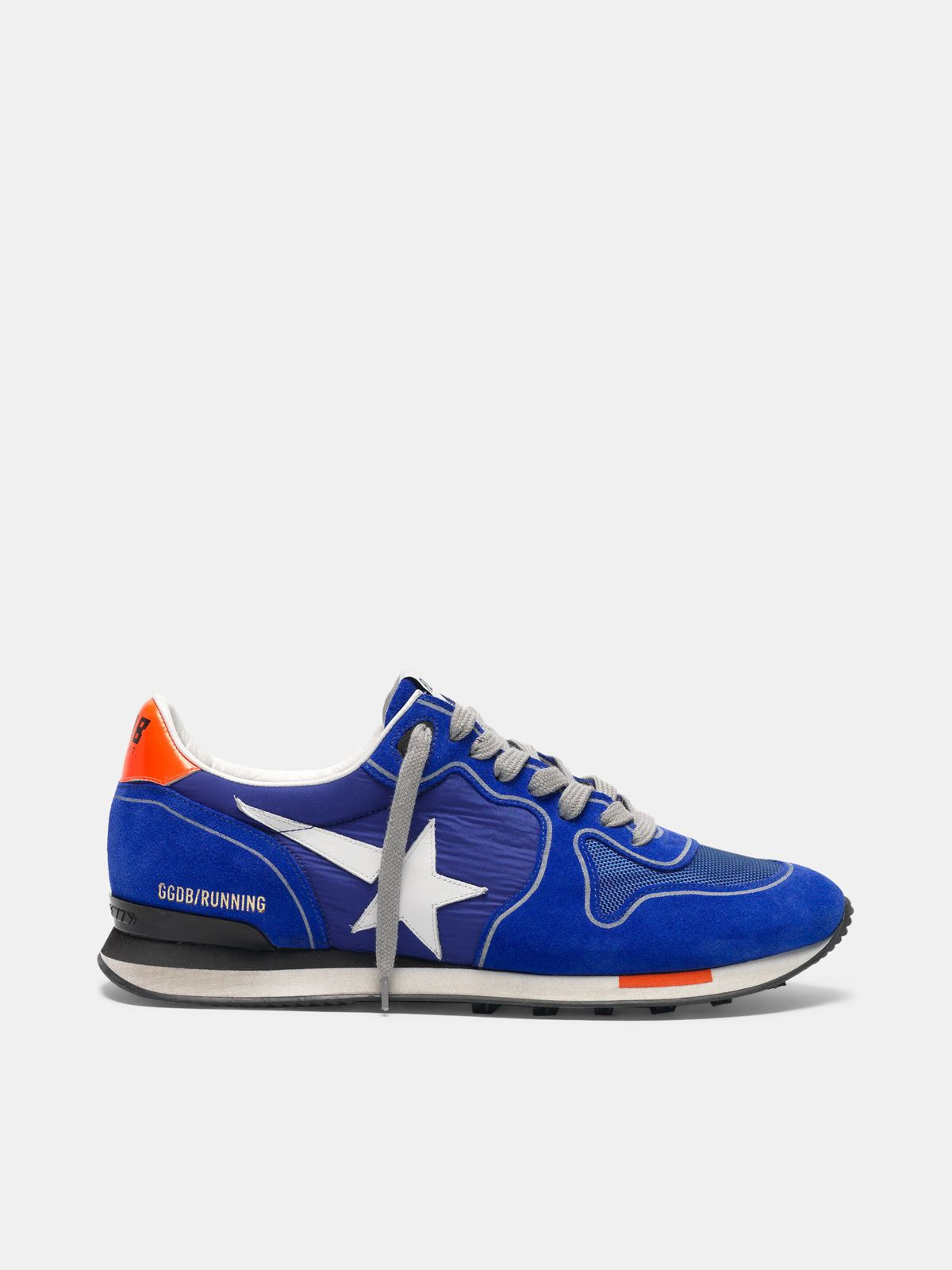 Golden Goose - Electric blue Running sneakers with white star in