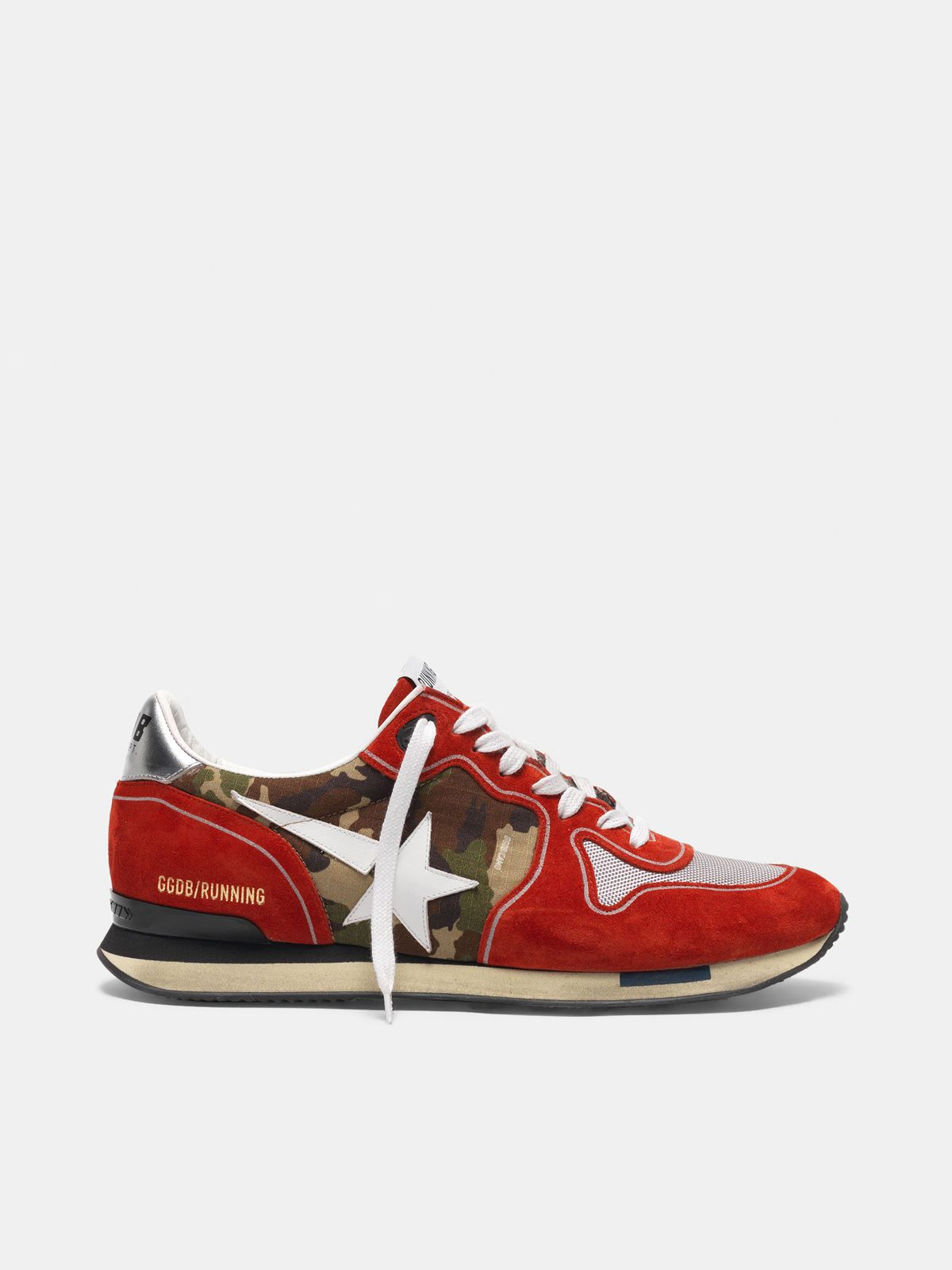 Golden Goose - Red Running sneakers in suede with camouflage detail in
