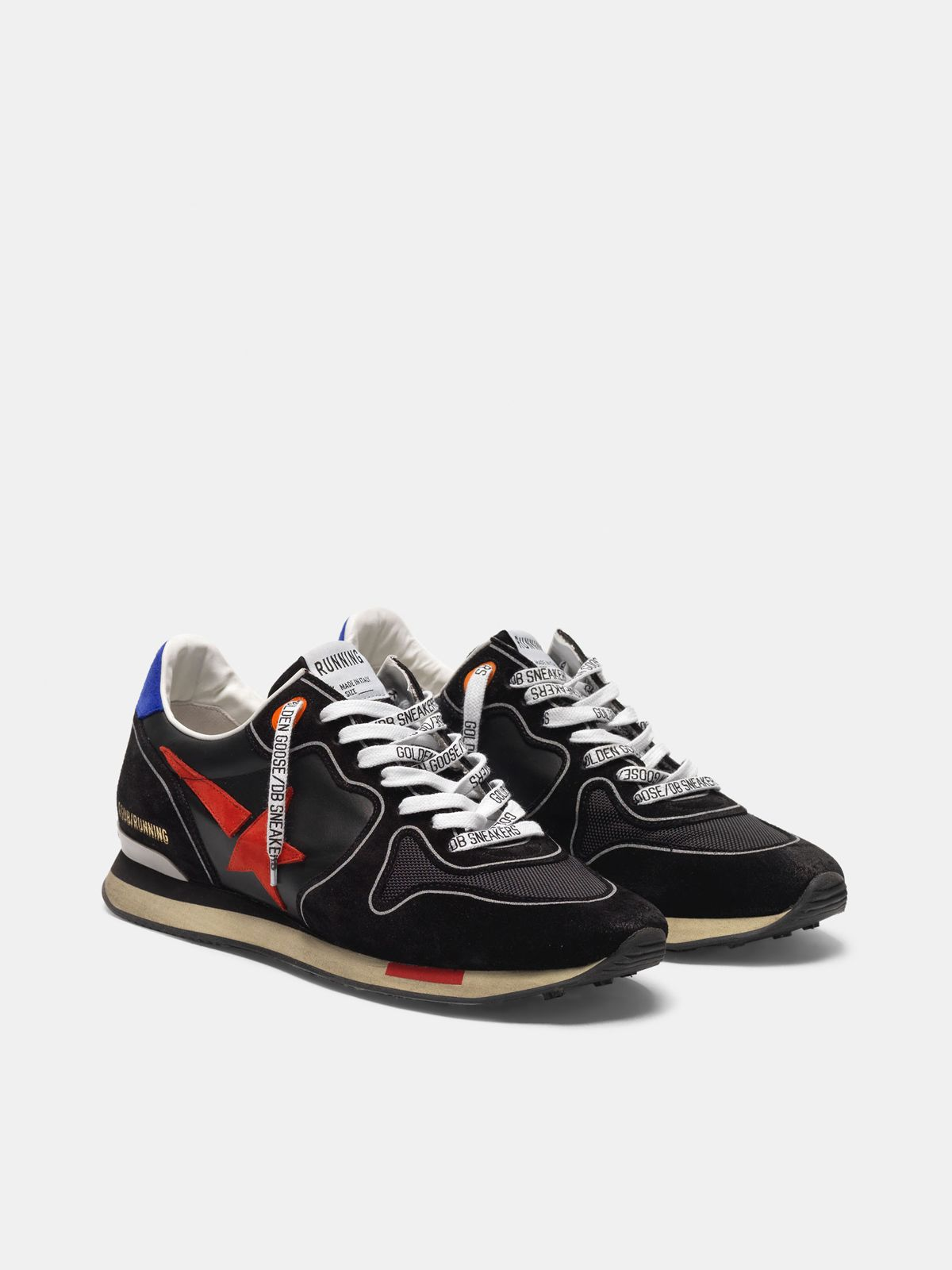 Golden Goose - Black Running sneakers with red star in