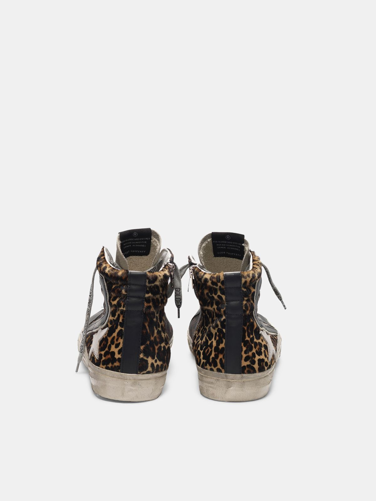 Golden Goose - Sneakers Slide in cavallino stampa leopardata in