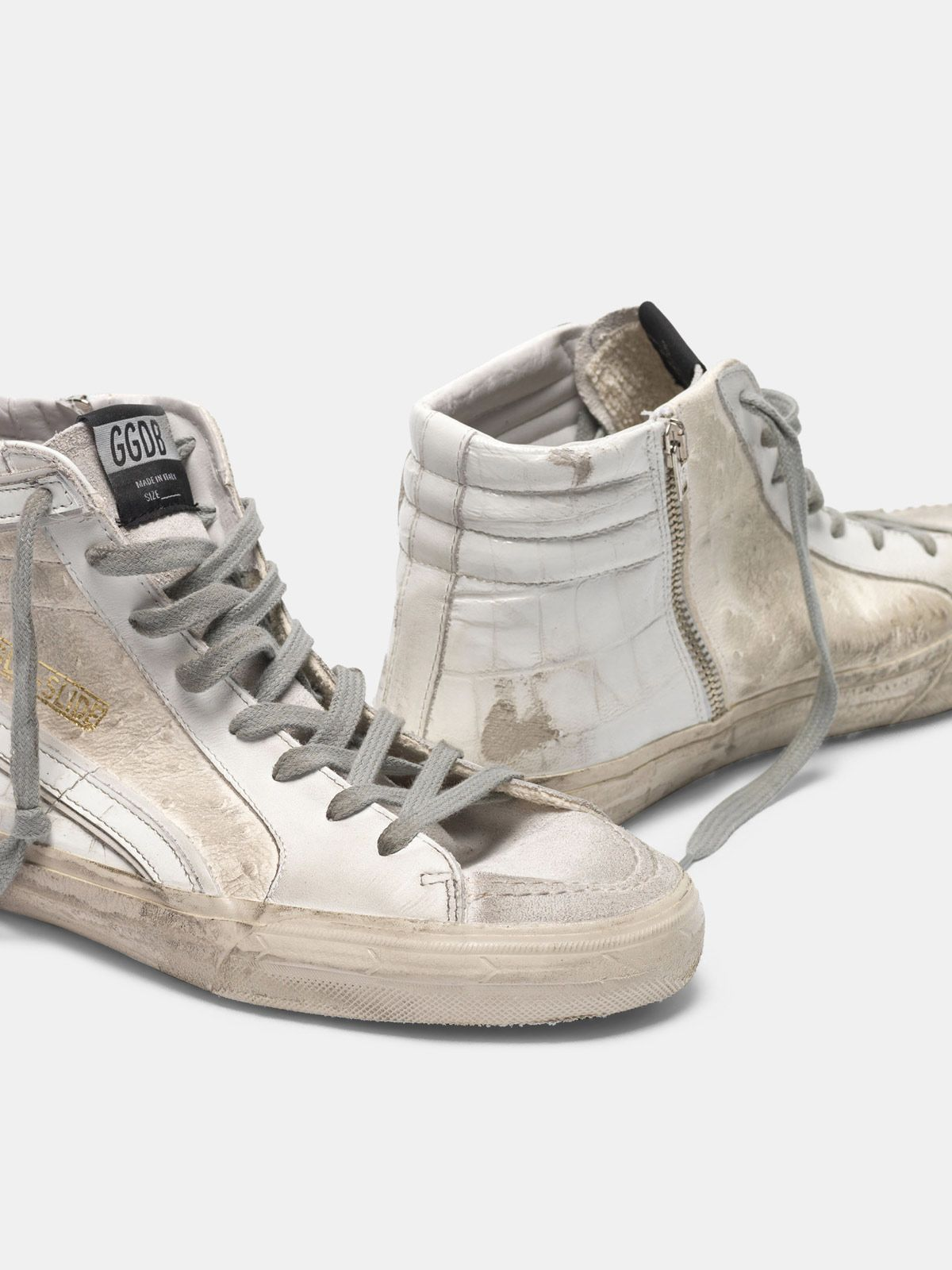 Golden Goose - Sneakers Slide bianche patchwork shades in