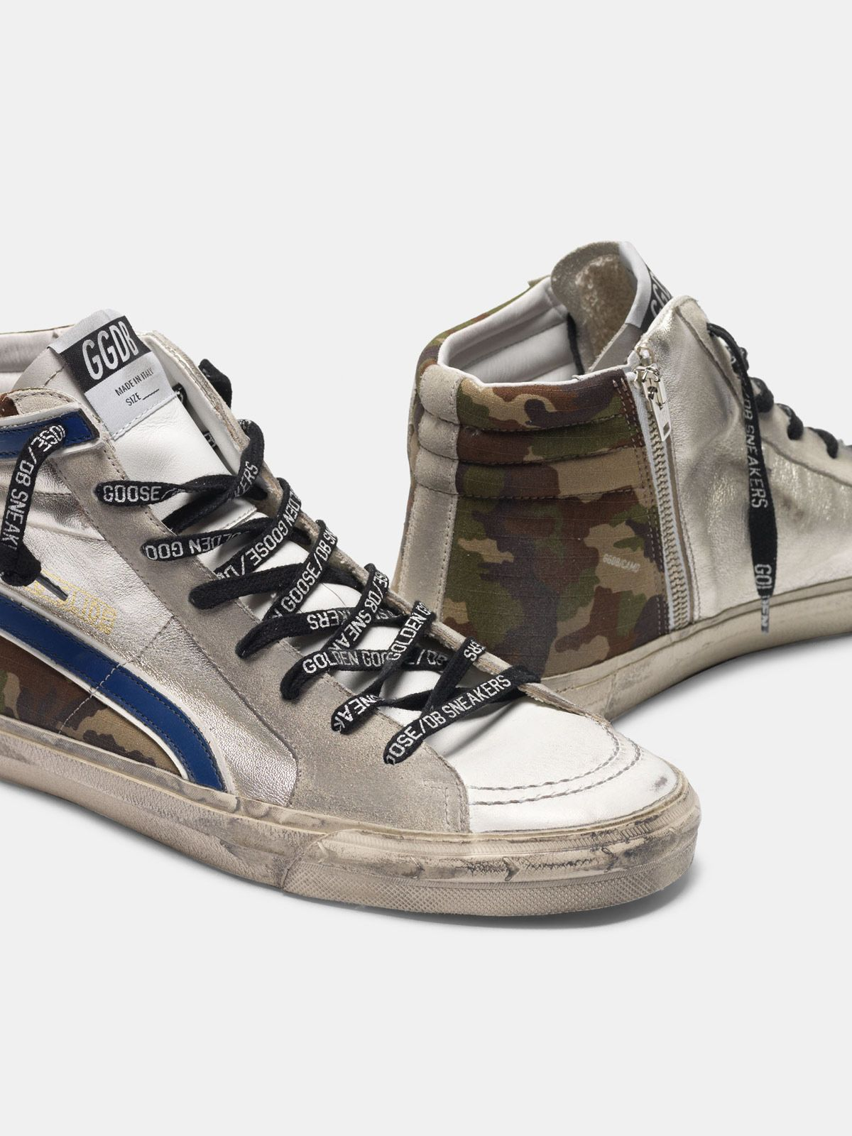 Golden Goose - Sneakers Slide argentate e camouflage in