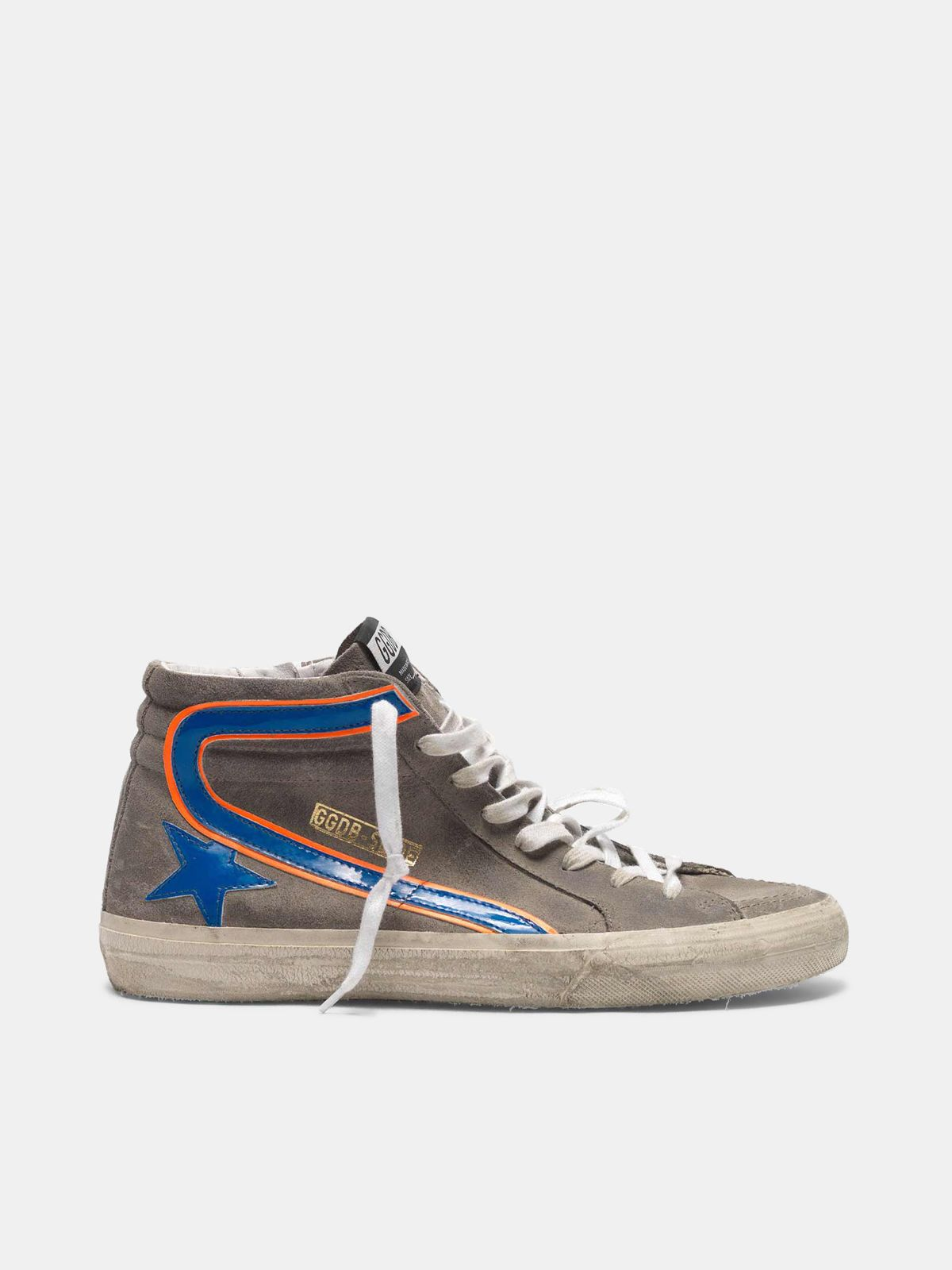 Golden Goose - Grey Slide sneakers in suede with electric blue details in