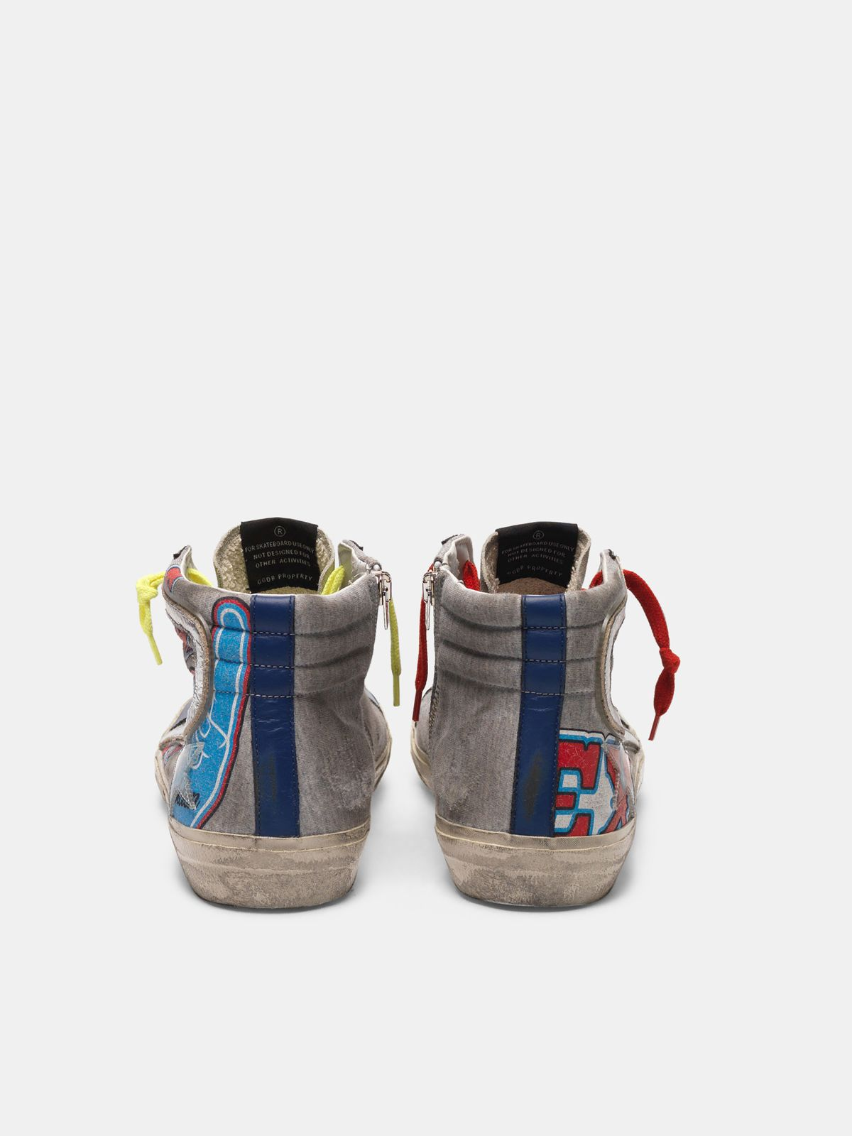 Golden Goose - Sneakers Slide Texas con virgola argentata in