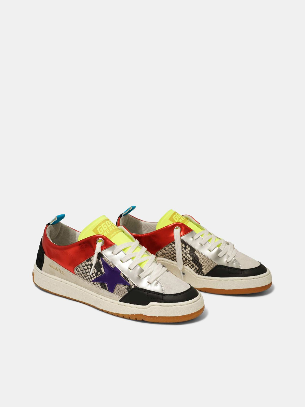 Golden Goose - Red Yeah! sneakers with purple star and snakeskin-print insert in