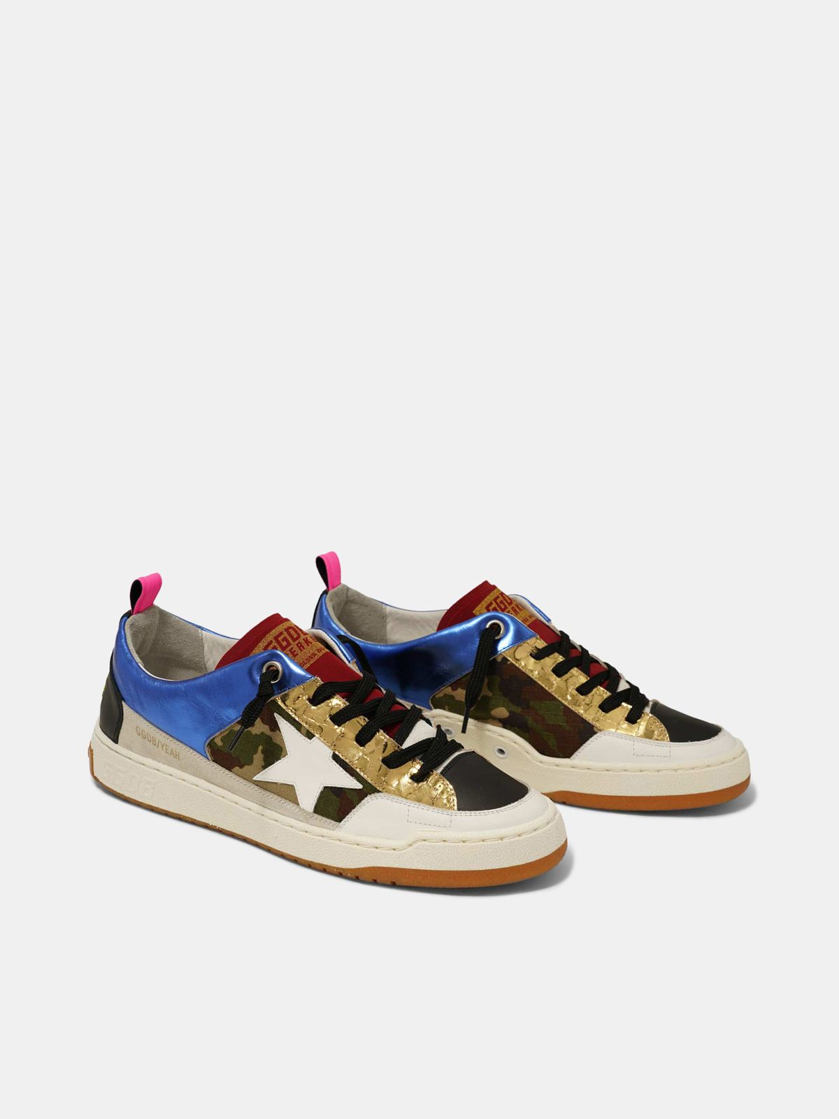 Golden Goose - Blue Yeah! sneakers with camouflage and white star in