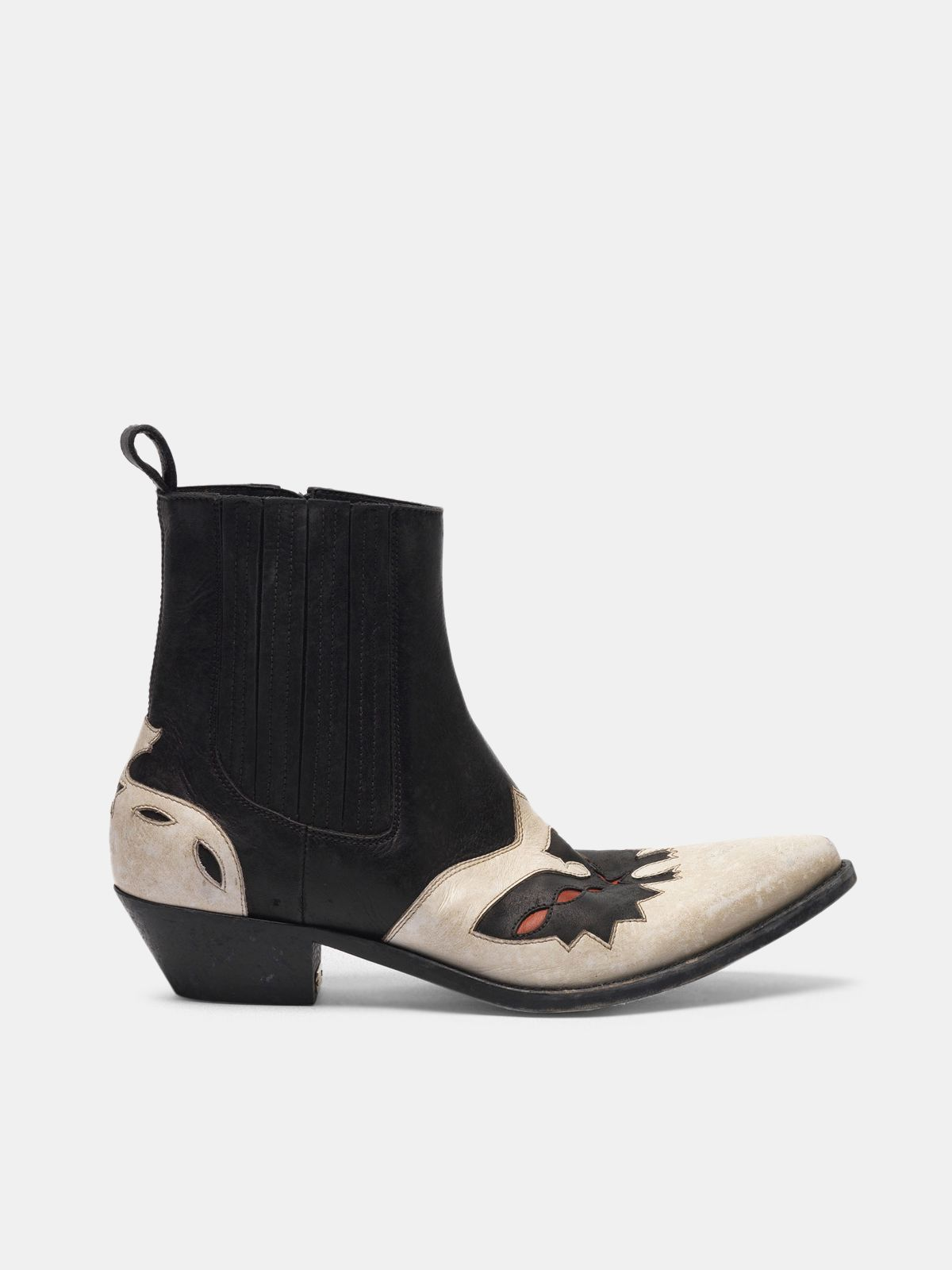 Golden Goose - Austin ankle boots in black and white with eagle in