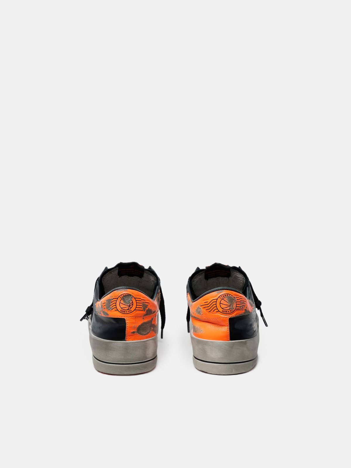 Golden Goose - Black and orange Stardan sneakers in