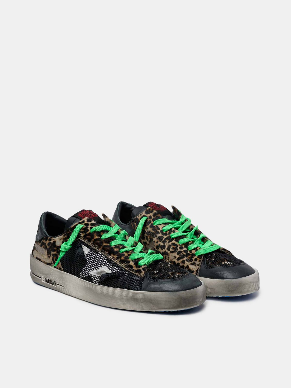 Golden Goose - Leopard print Stardan sneakers with green laces in