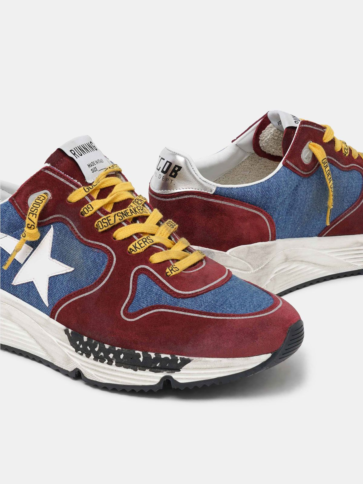 Golden Goose - Burgundy and blue Running Sole in