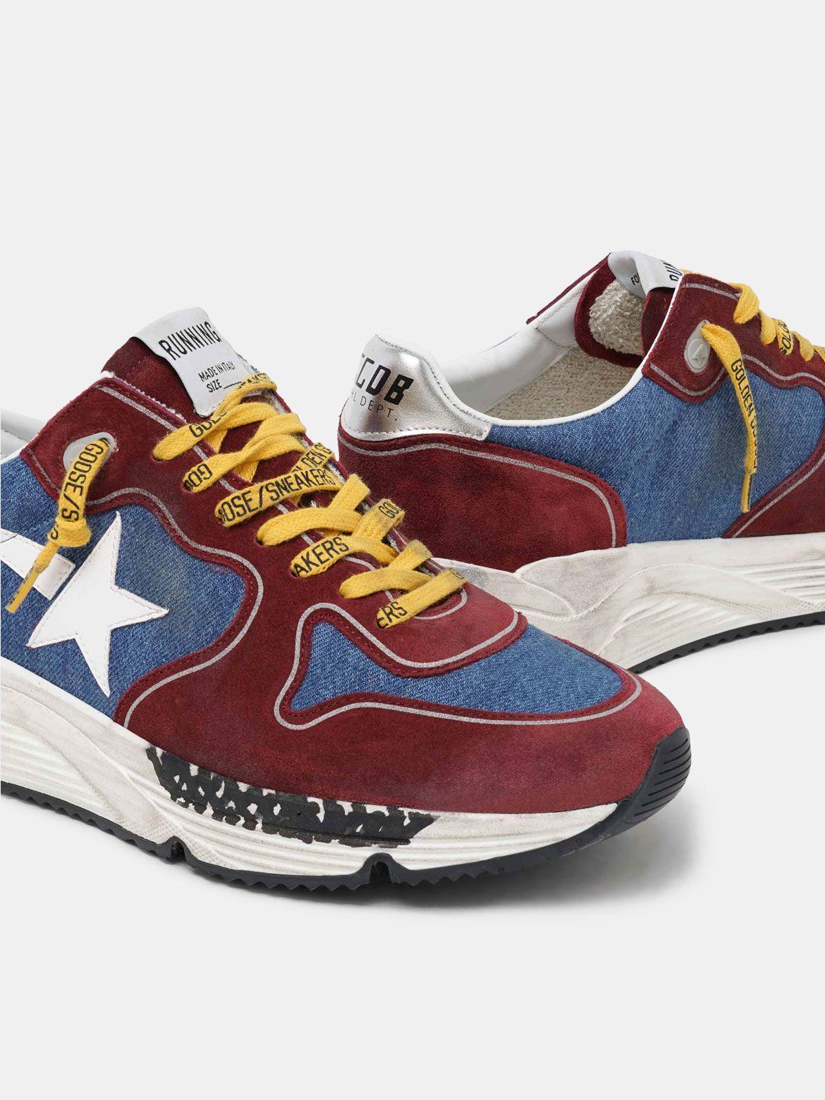 Golden Goose - Sneakers Running Sole bordeaux et bleu in