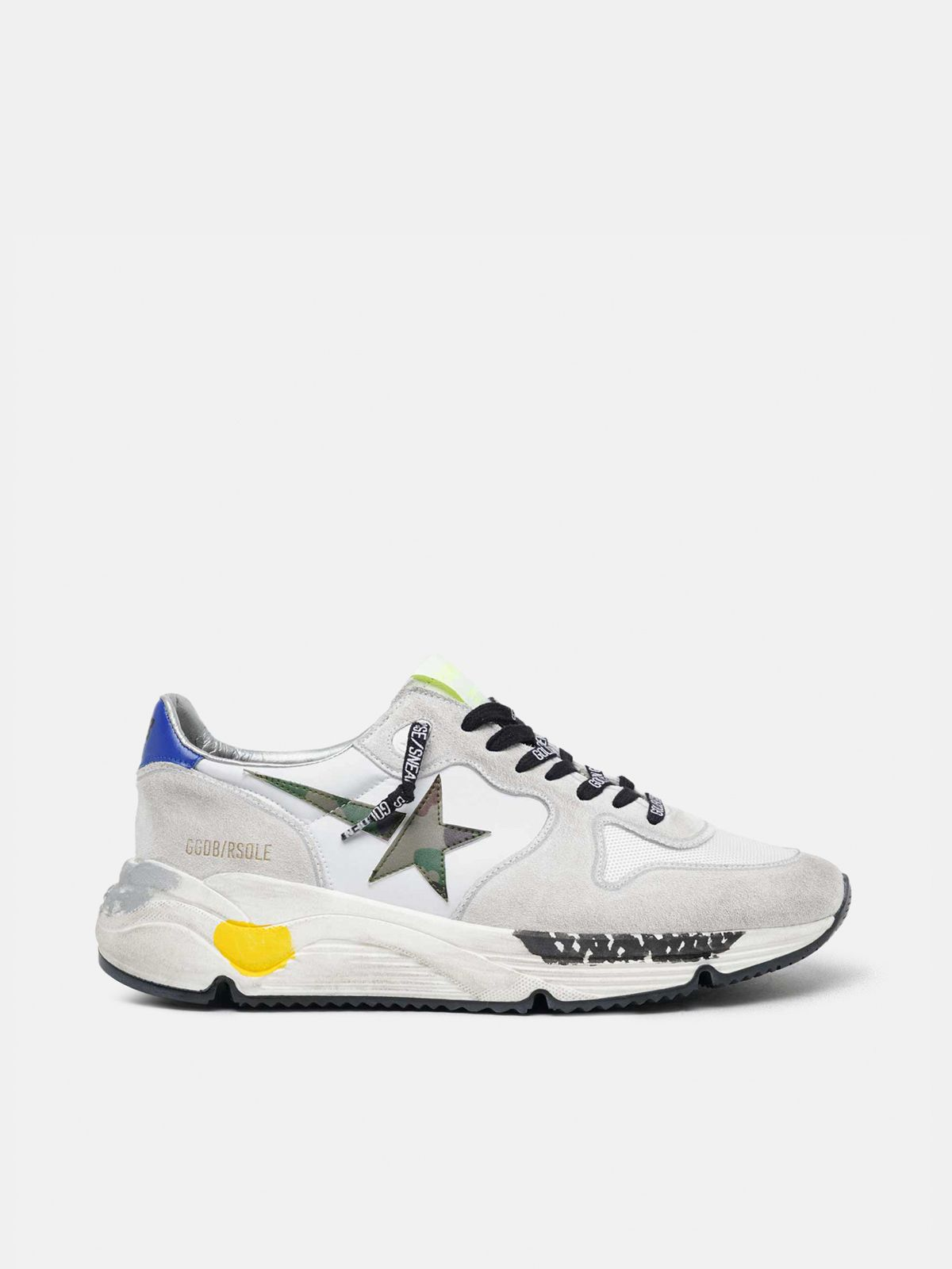 Golden Goose - White Running Sole with camouflage star in