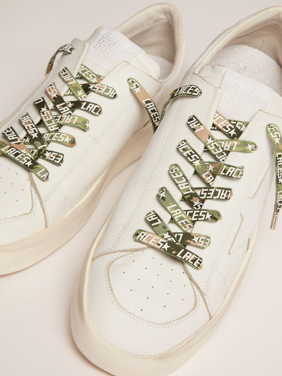 Golden Goose - Men's green camouflage laces with white laces print in