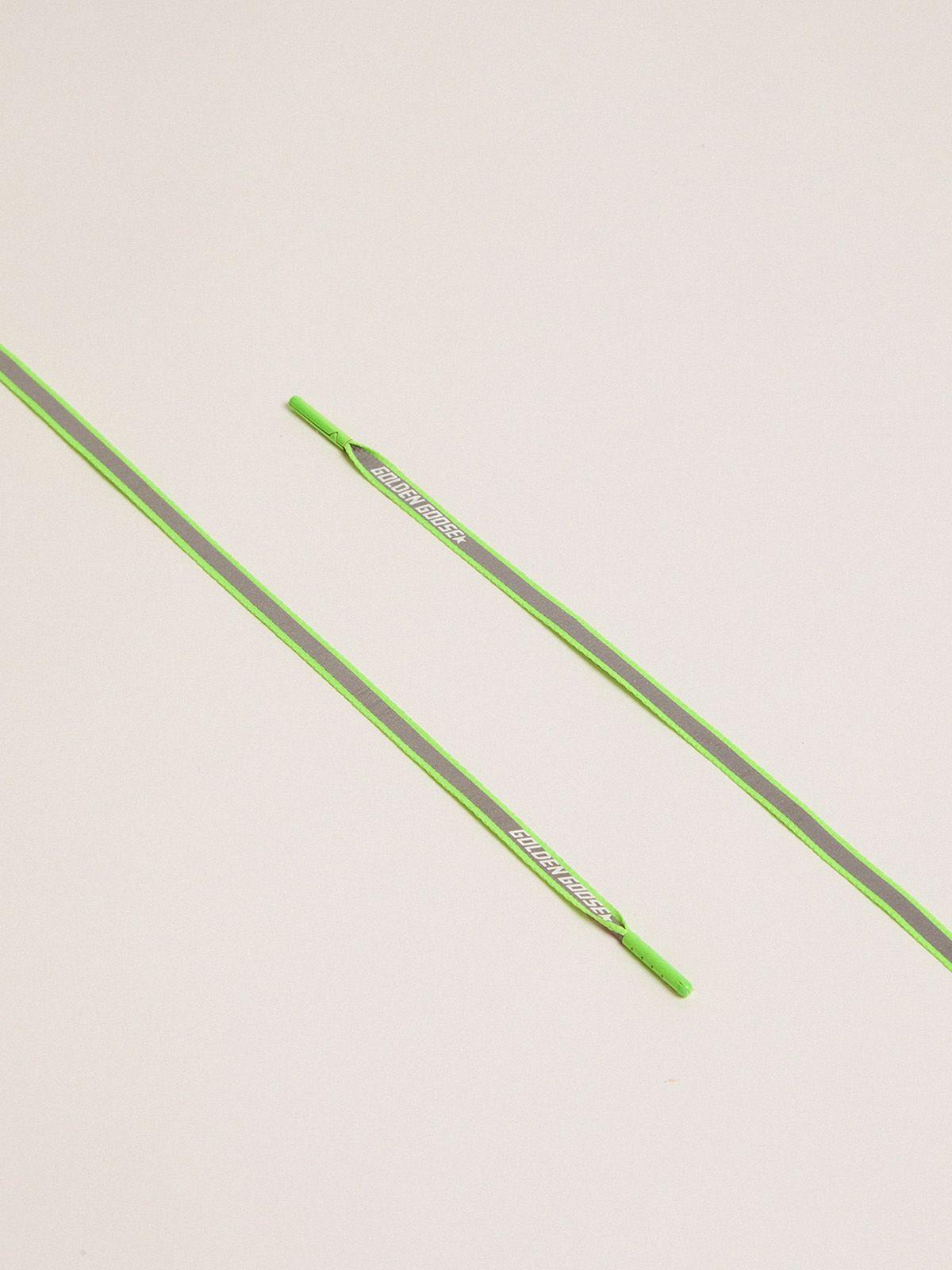 Lacci donna riflettenti verde fluo con logo