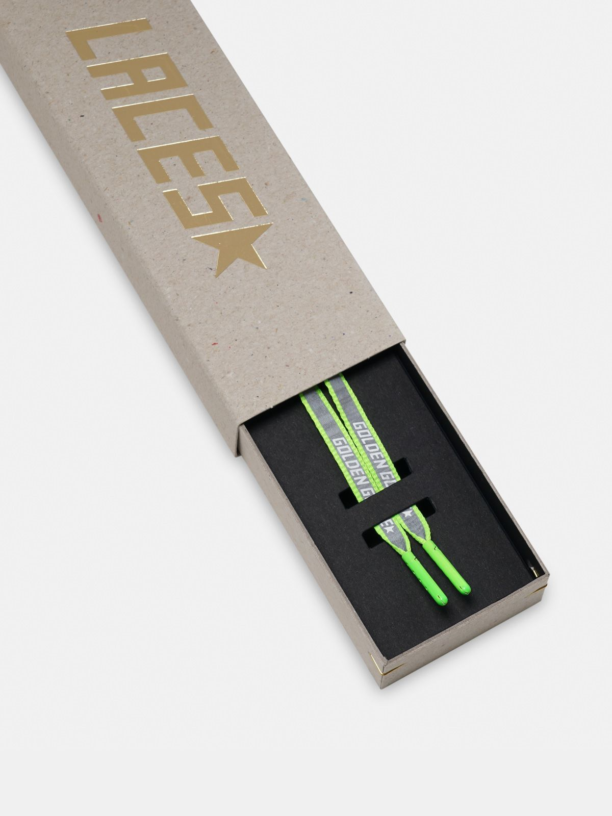 Golden Goose - Women's neon green reflective laces with logo in