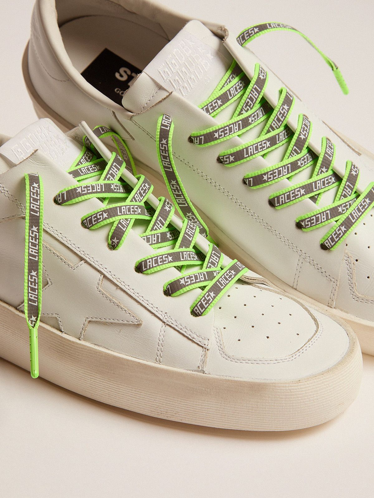 Golden Goose - Men's neon green reflective laces with laces print in