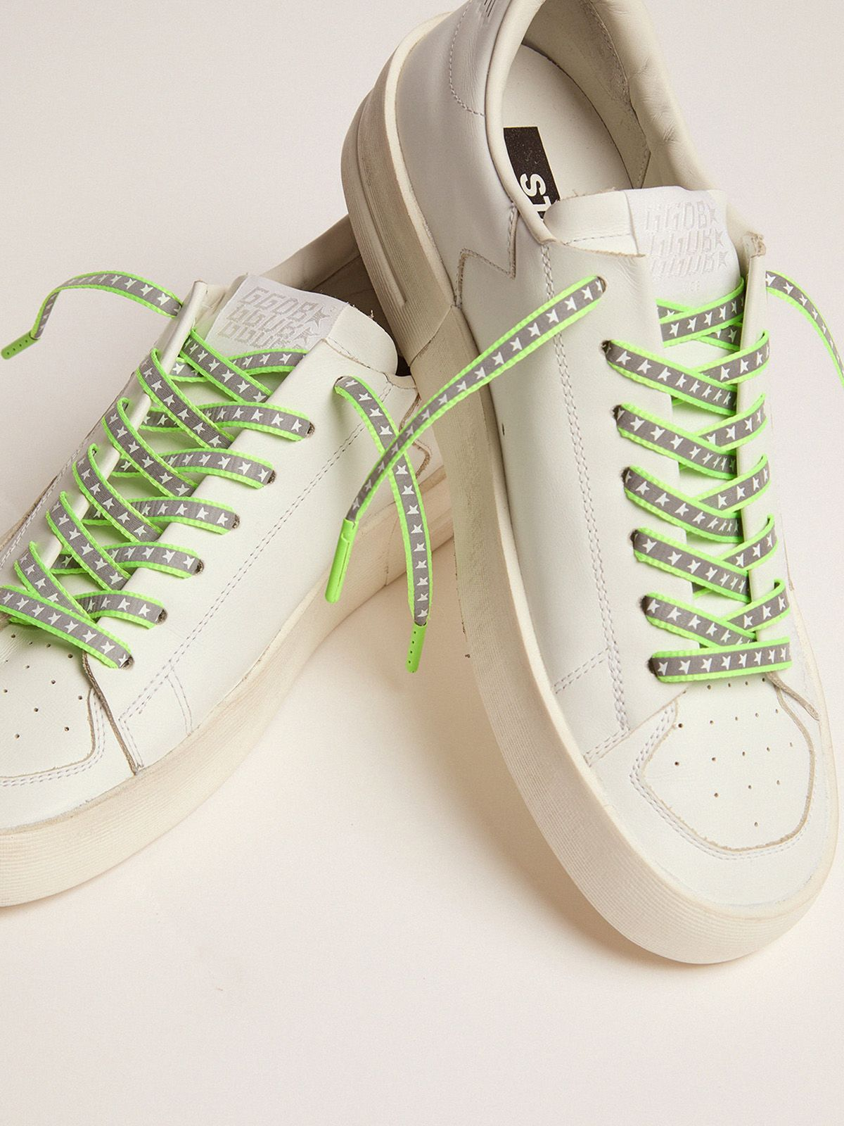Golden Goose - Men's neon green reflective laces with stars in