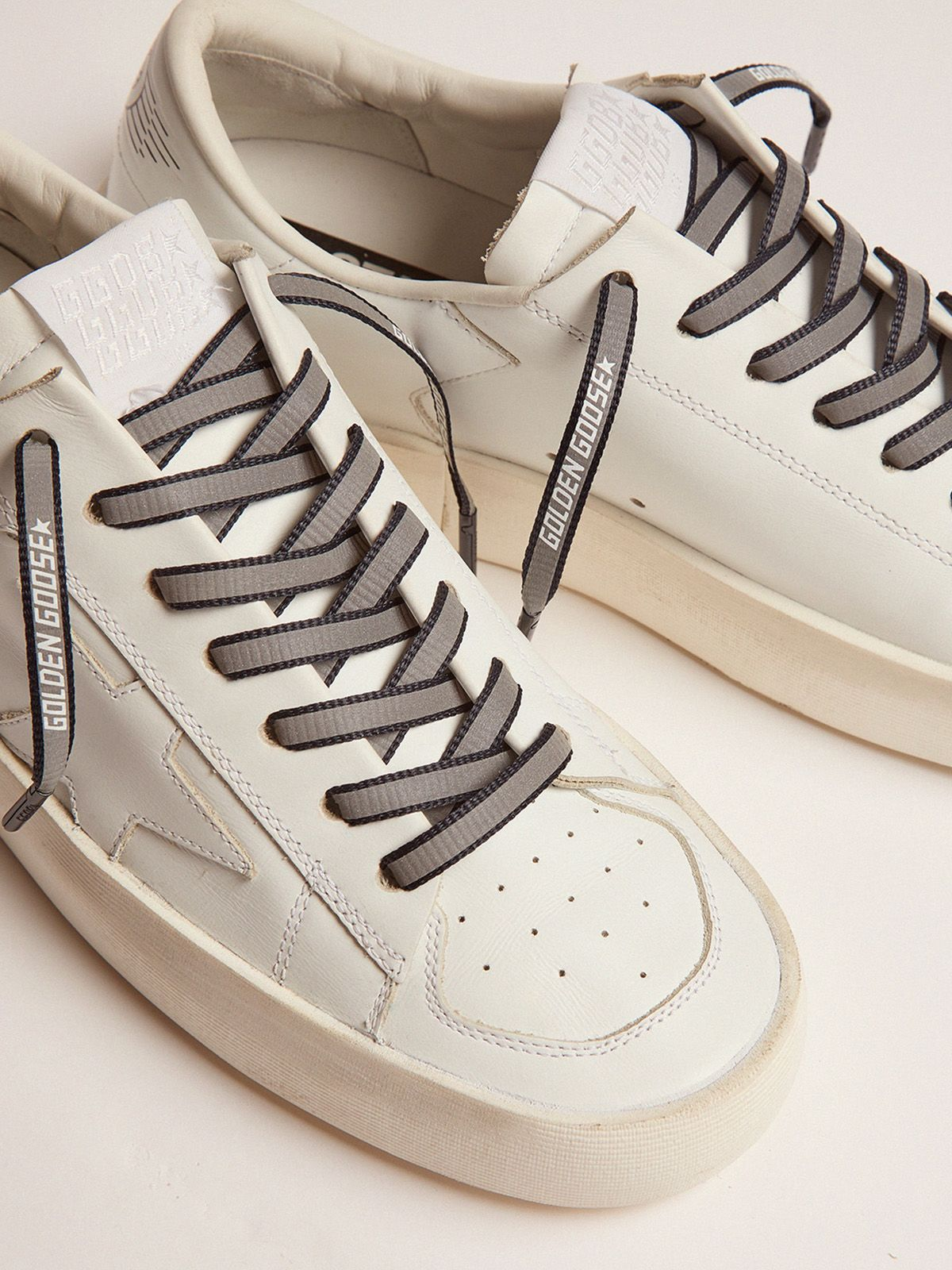 Golden Goose - Women's blue reflective laces with logo in