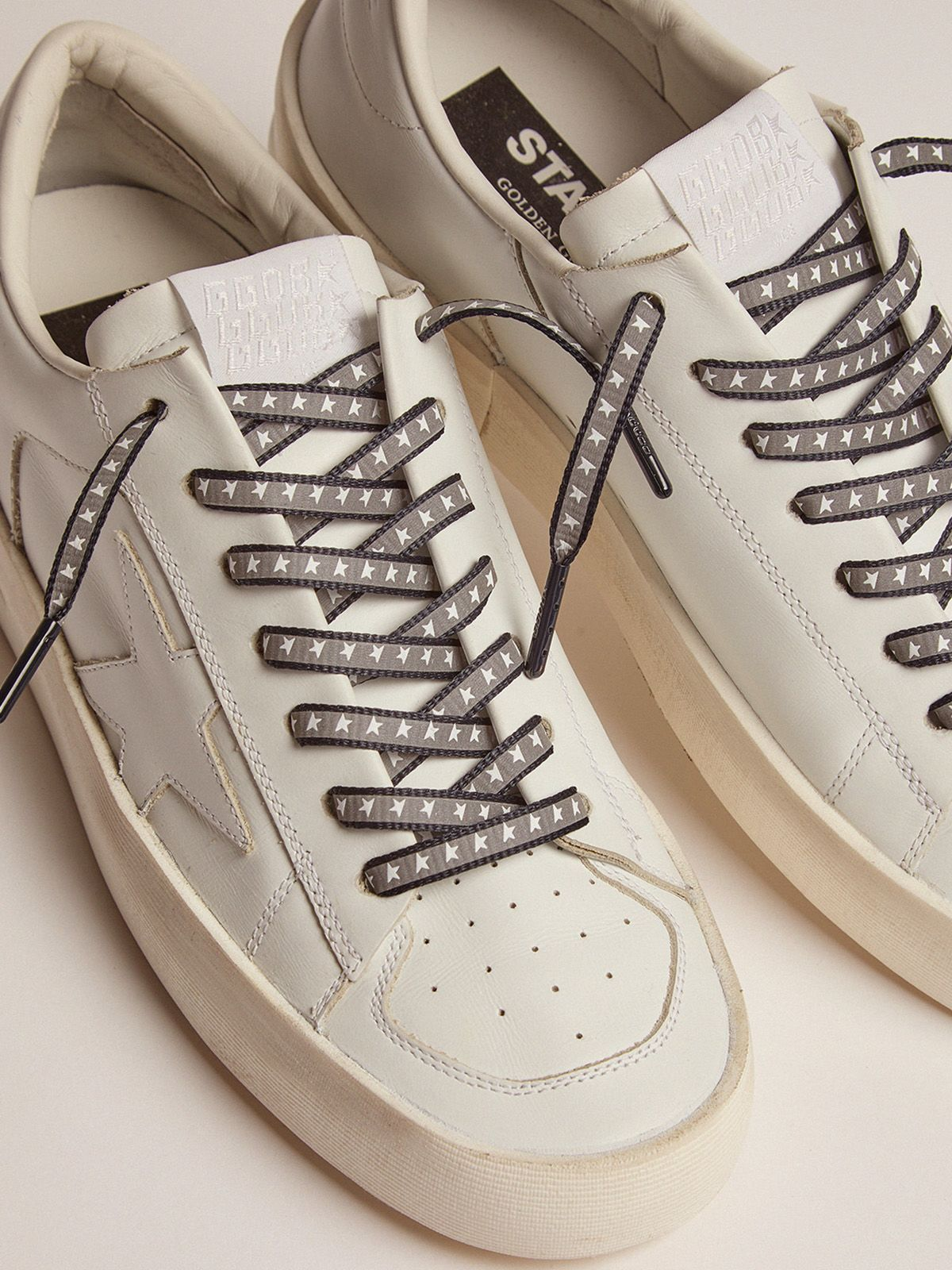 Golden Goose - Men's blue reflective laces with stars in