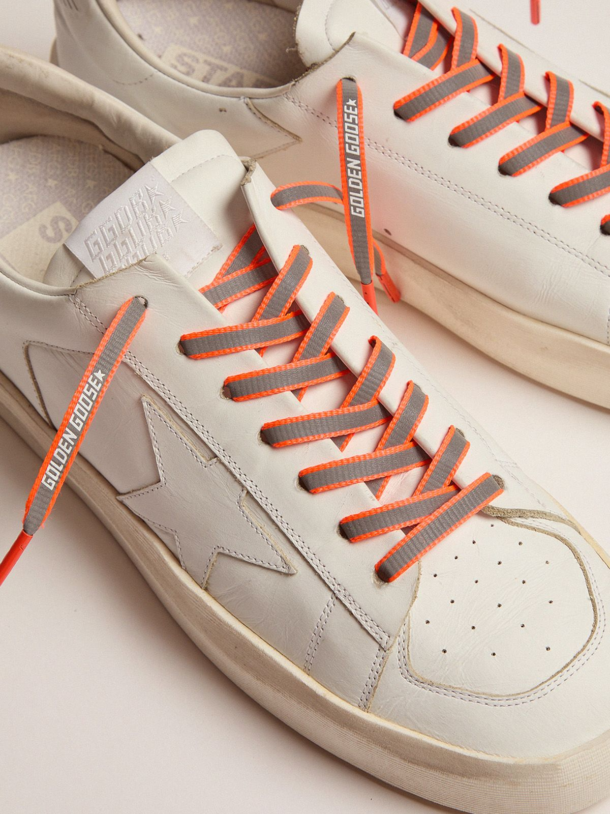 Golden Goose - Women's neon orange reflective laces with logo in