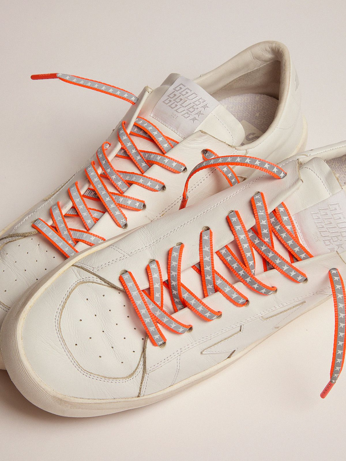 Golden Goose - Women's neon orange reflective laces with stars in