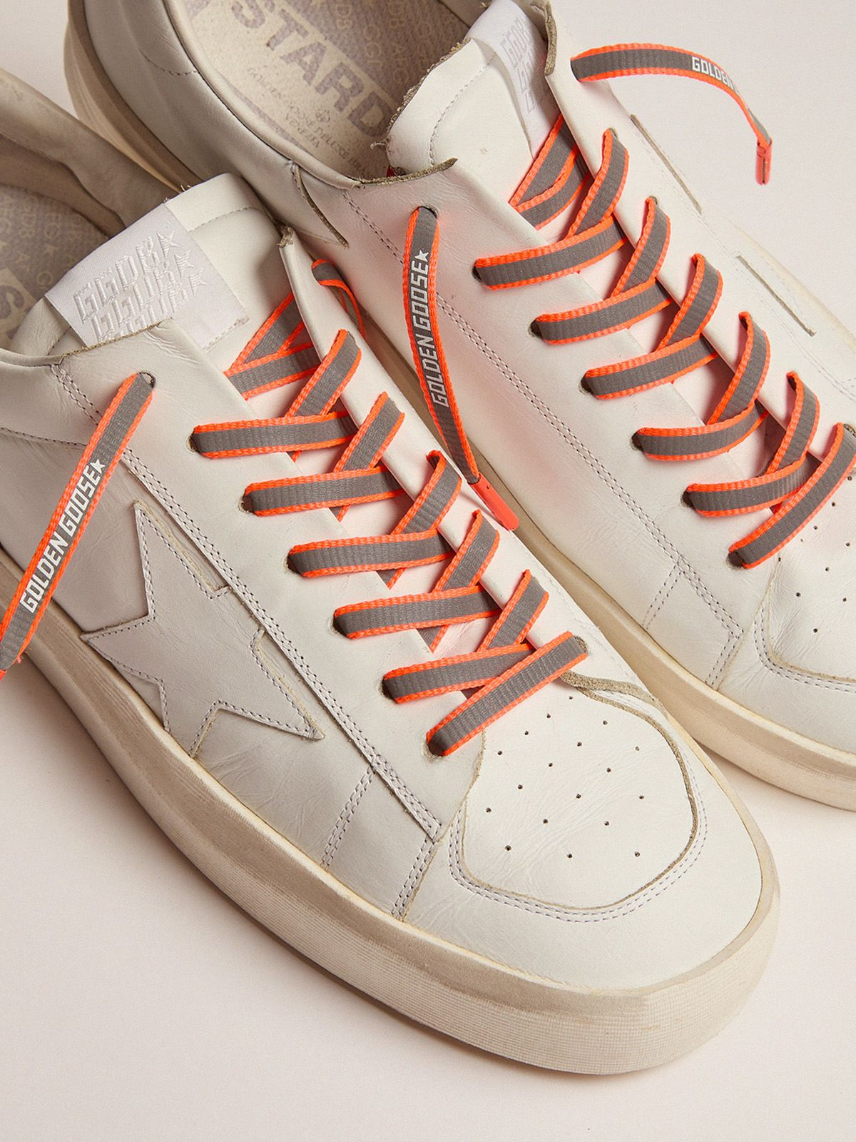 Golden Goose - Men's neon orange reflective laces with logo in
