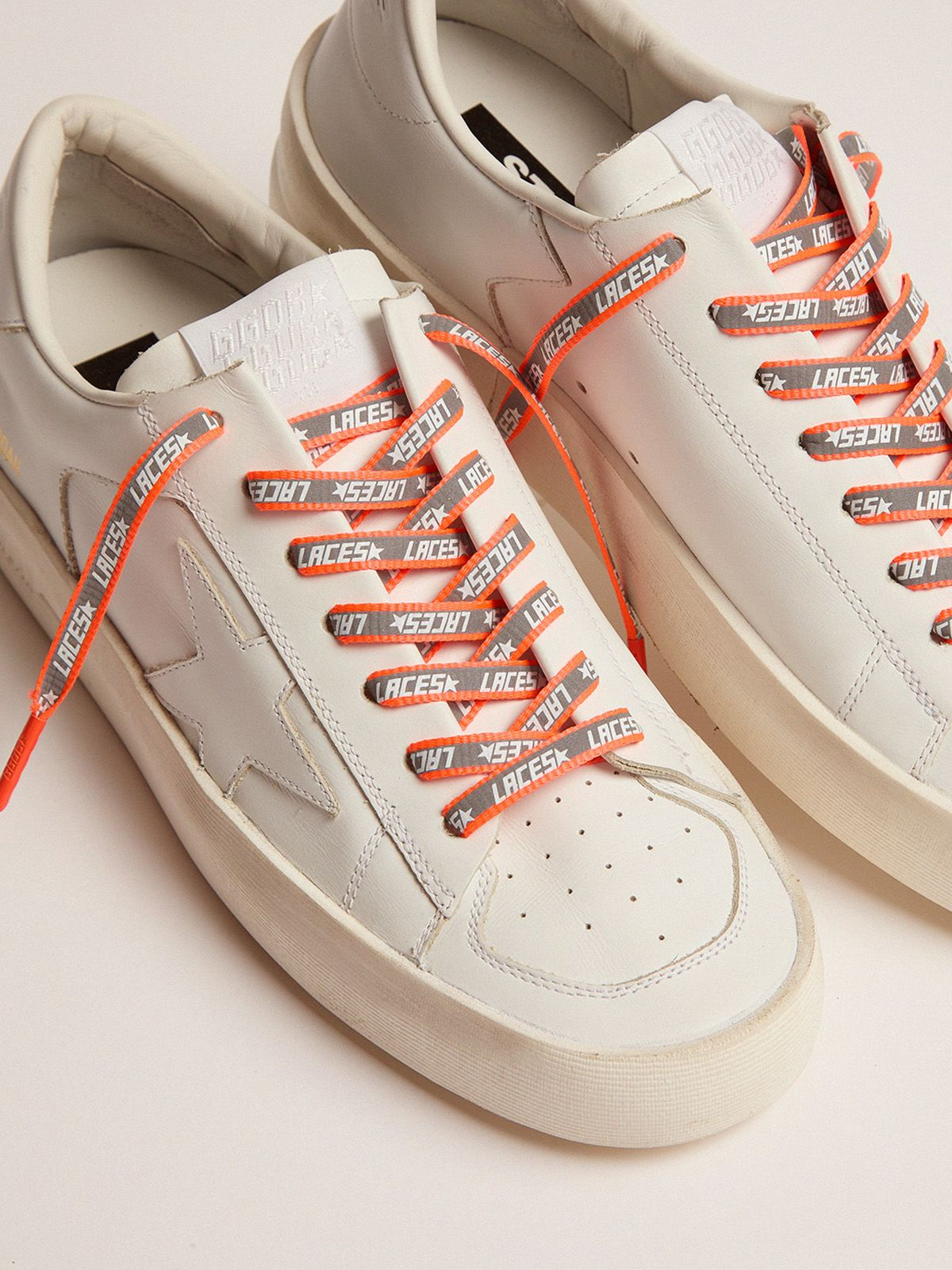 Golden Goose - Men's neon orange reflective laces with laces print in