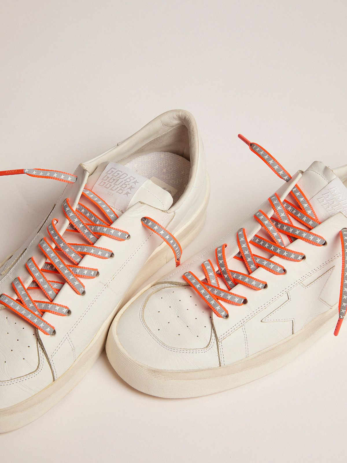 Golden Goose - Men's neon orange reflective laces with stars in