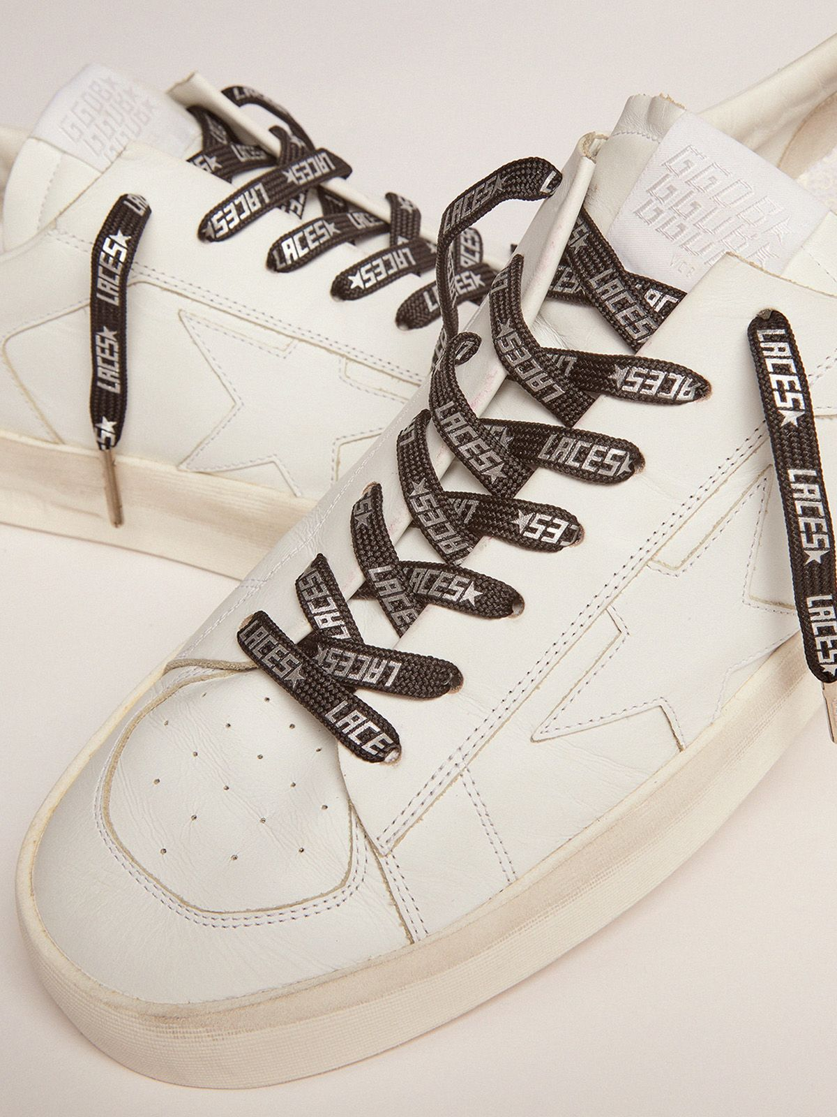 Golden Goose - Men's black laces with silver laces print in