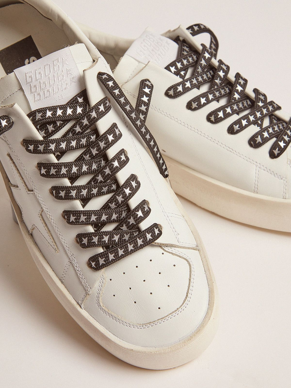 Golden Goose - Men's black laces with silver stars in