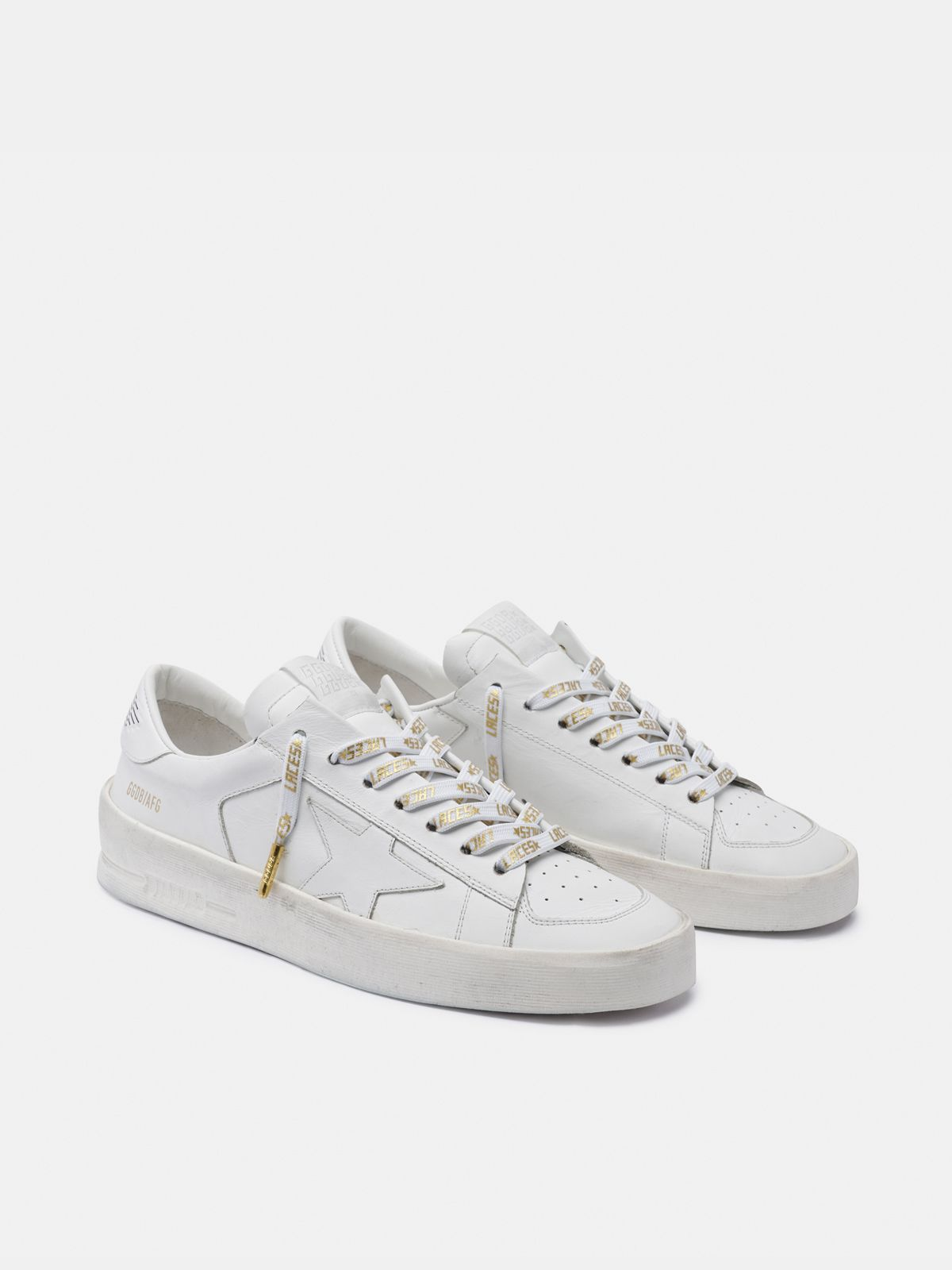 Golden Goose - Women's white laces with gold laces print in