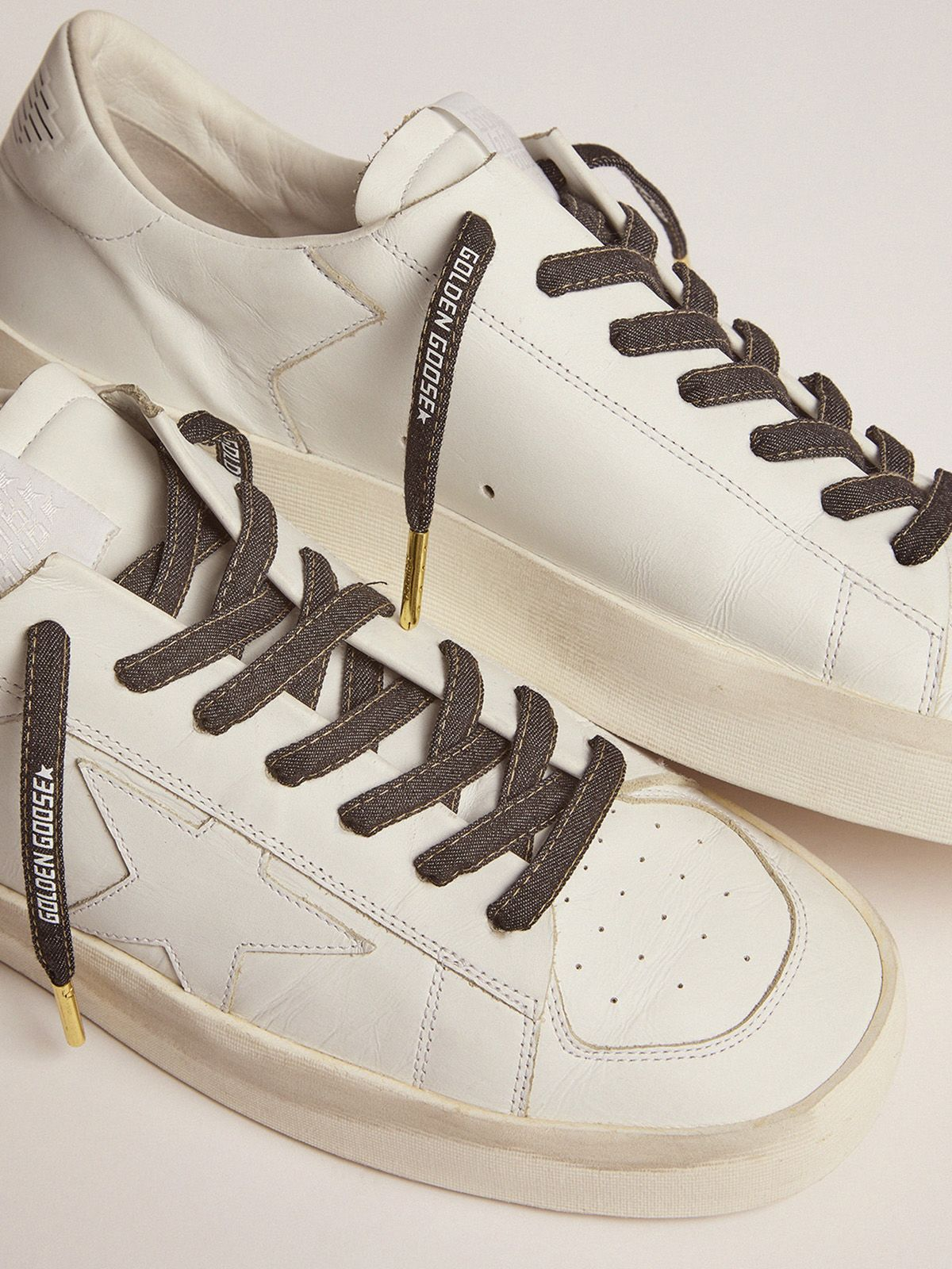 Golden Goose - Men's denim laces with white logo in