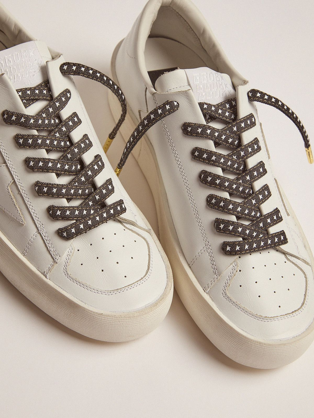 Golden Goose - Men's denim laces with white stars in