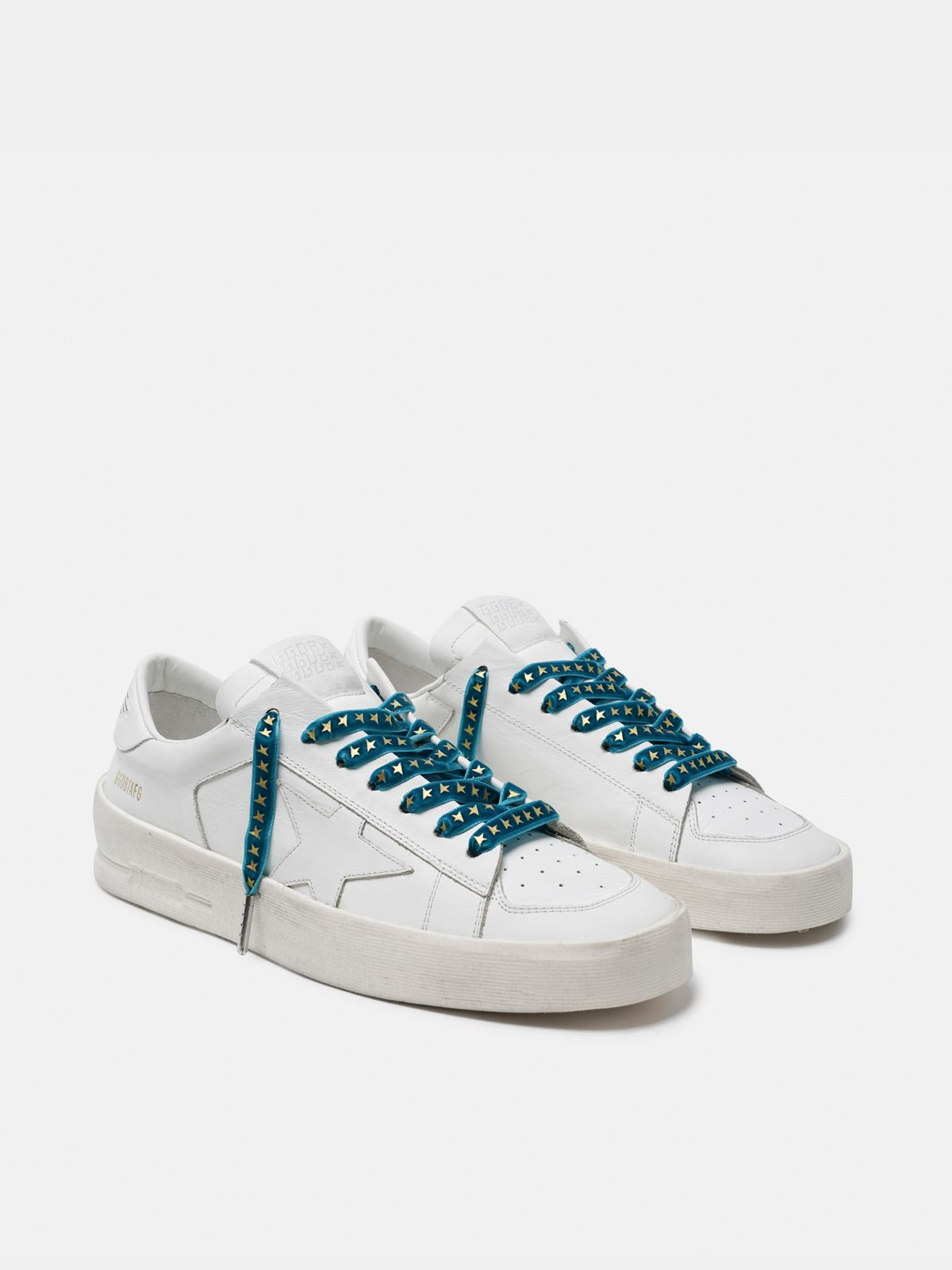 Golden Goose - Women's green velvet laces with gold stars in
