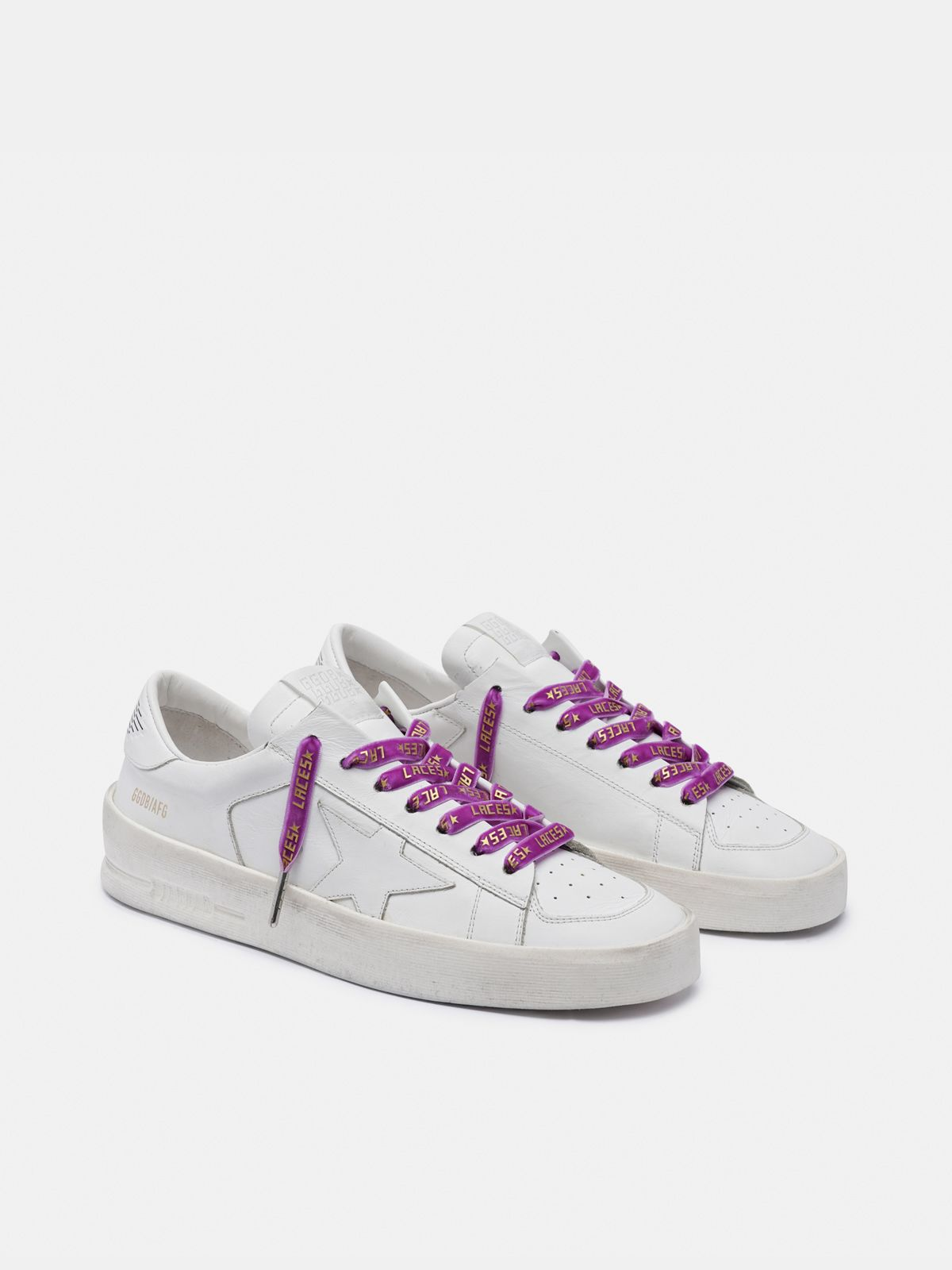 Golden Goose - Women's purple velvet laces with gold laces print in