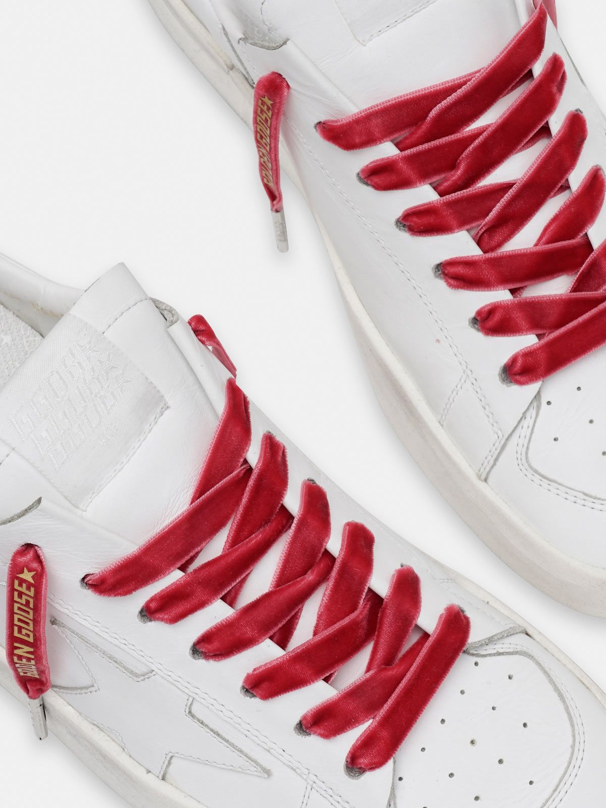 Golden Goose - Women's red velvet laces with gold logo in
