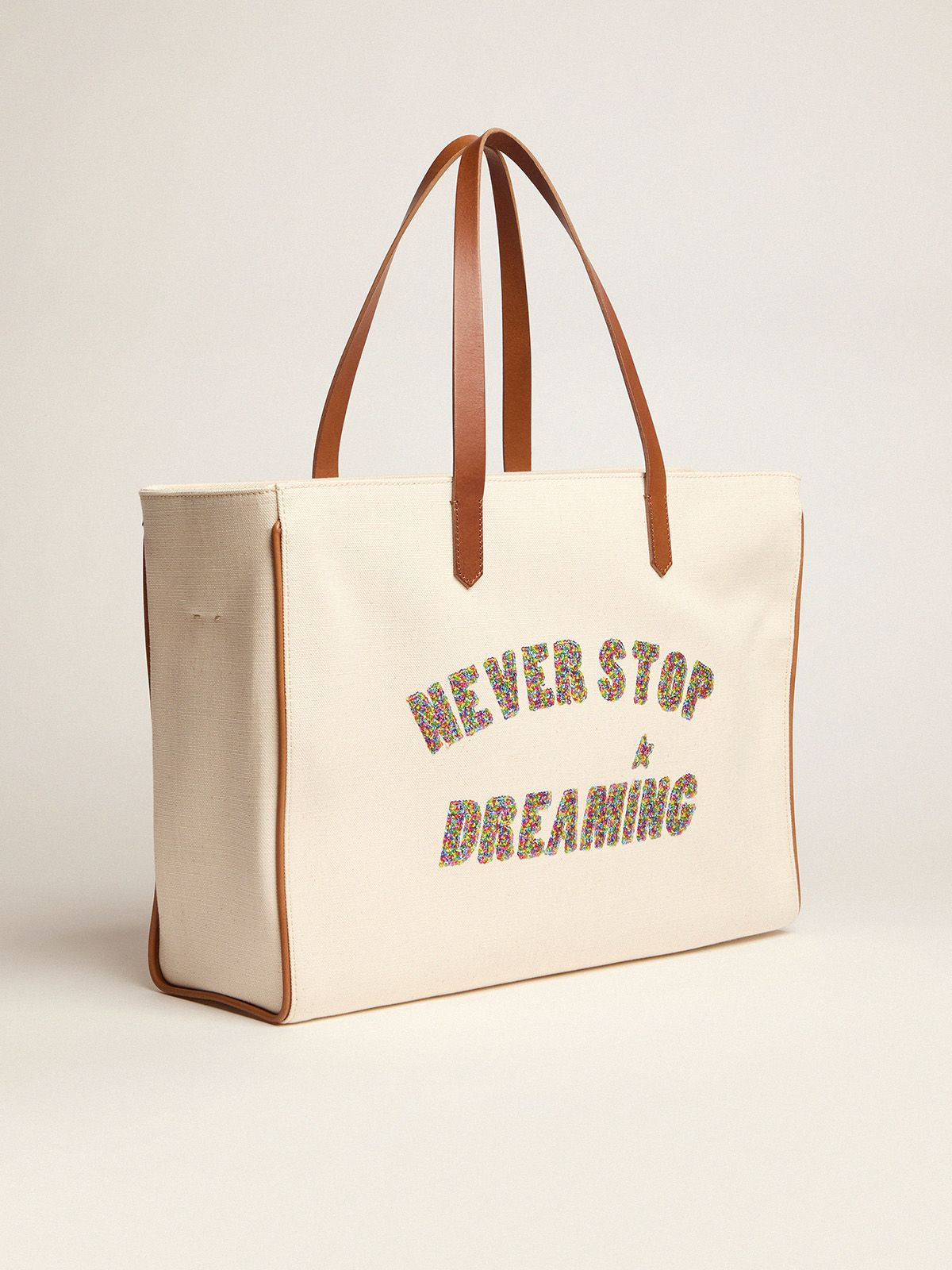 Golden Goose - California East-West Never Stop Dreaming glitter bag in