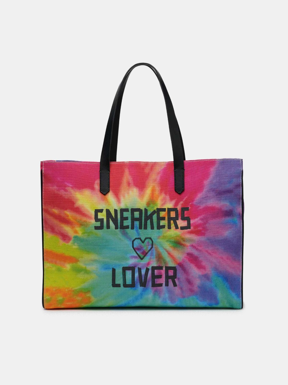California East-West tie-dye bag with Sneakers Lover print