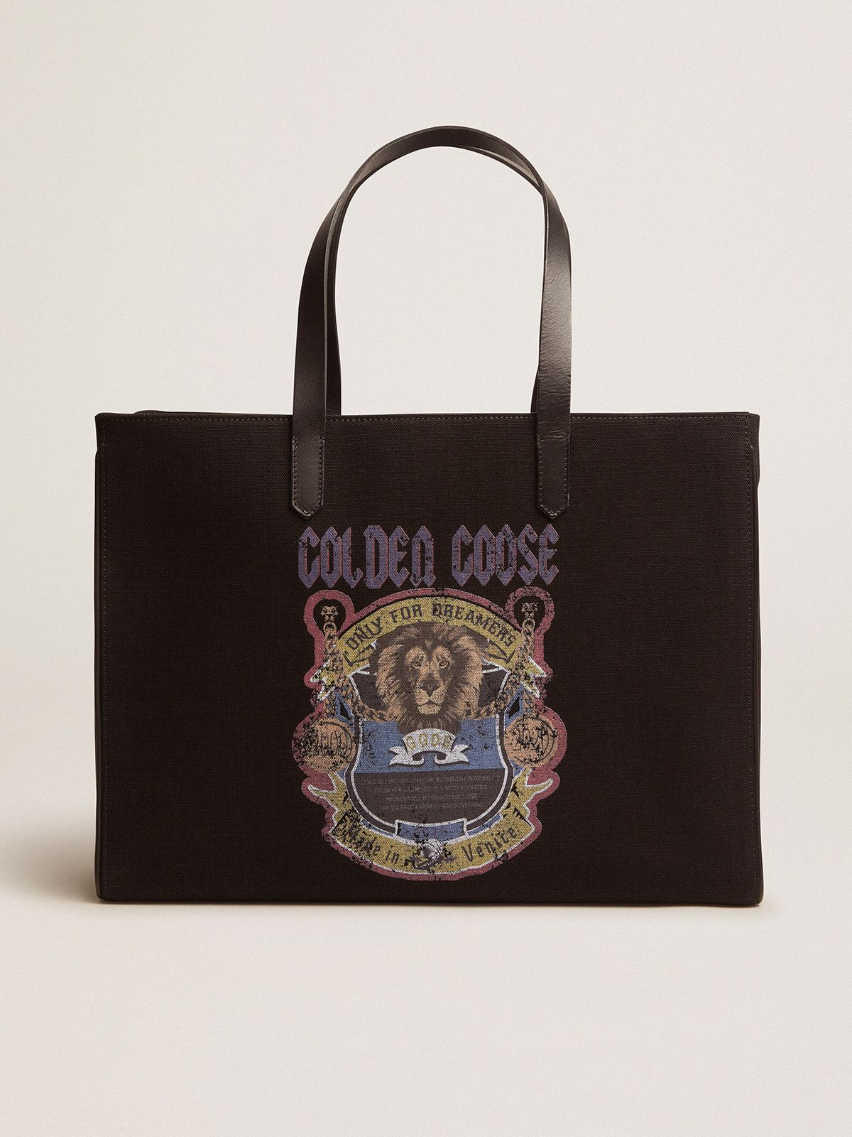 Black California East-West bag with vintage print