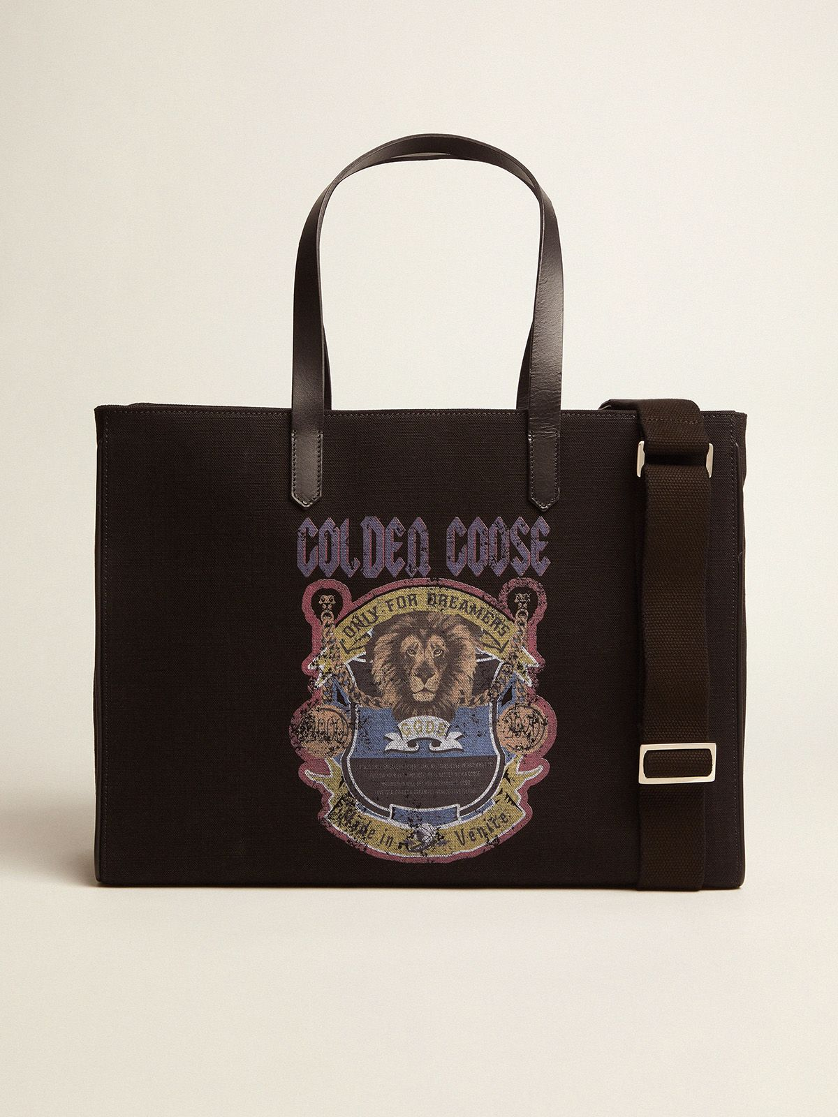 Golden Goose - Borsa California East-West nera con stampa vintage in