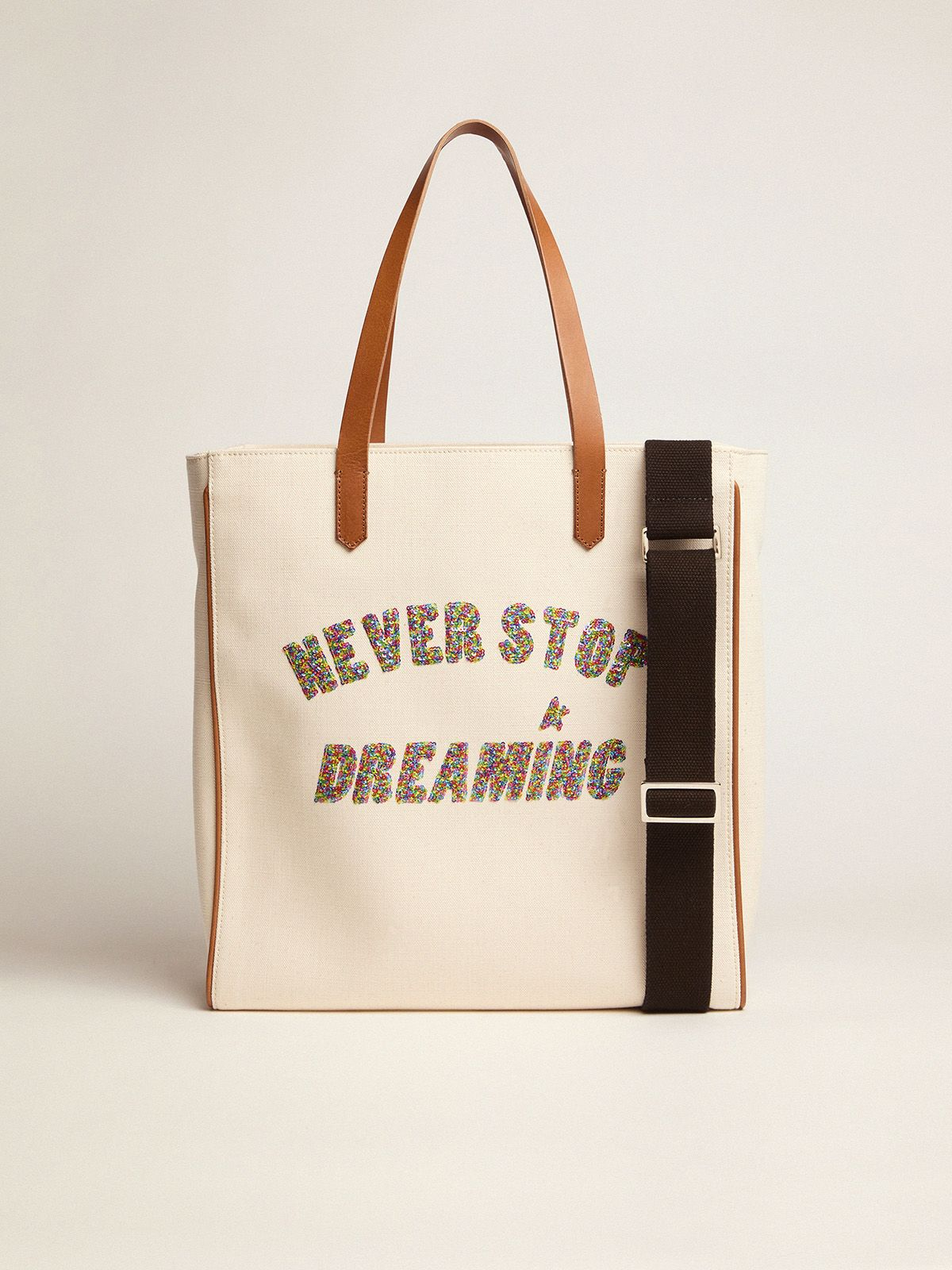 Golden Goose - California North-South Never Stop Dreaming glitter bag in