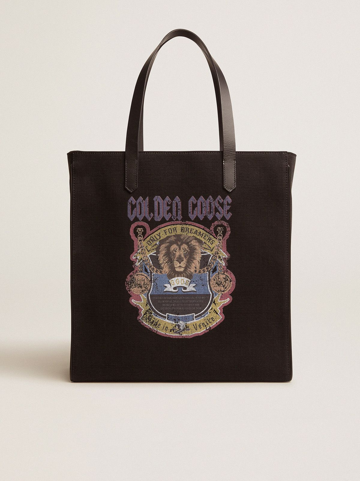 Golden Goose - Black California North-South bag with vintage print in