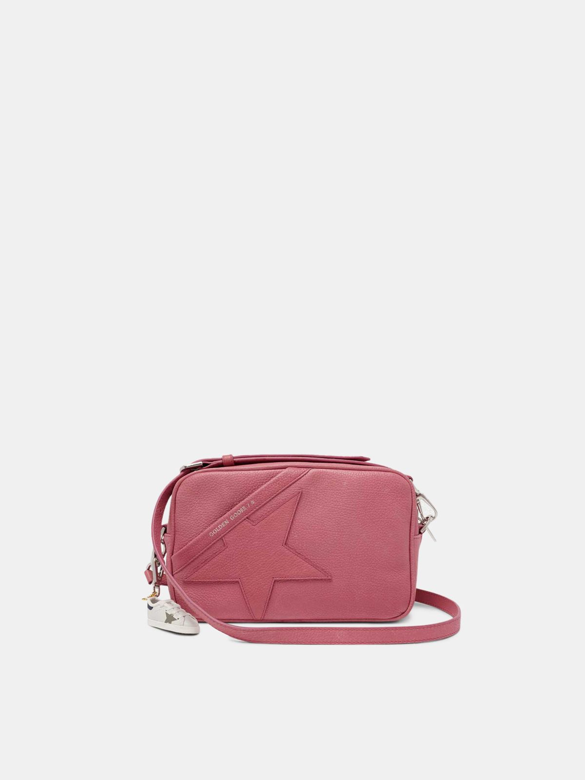 Pink Star Bag with shoulder strap made of pebbled leather