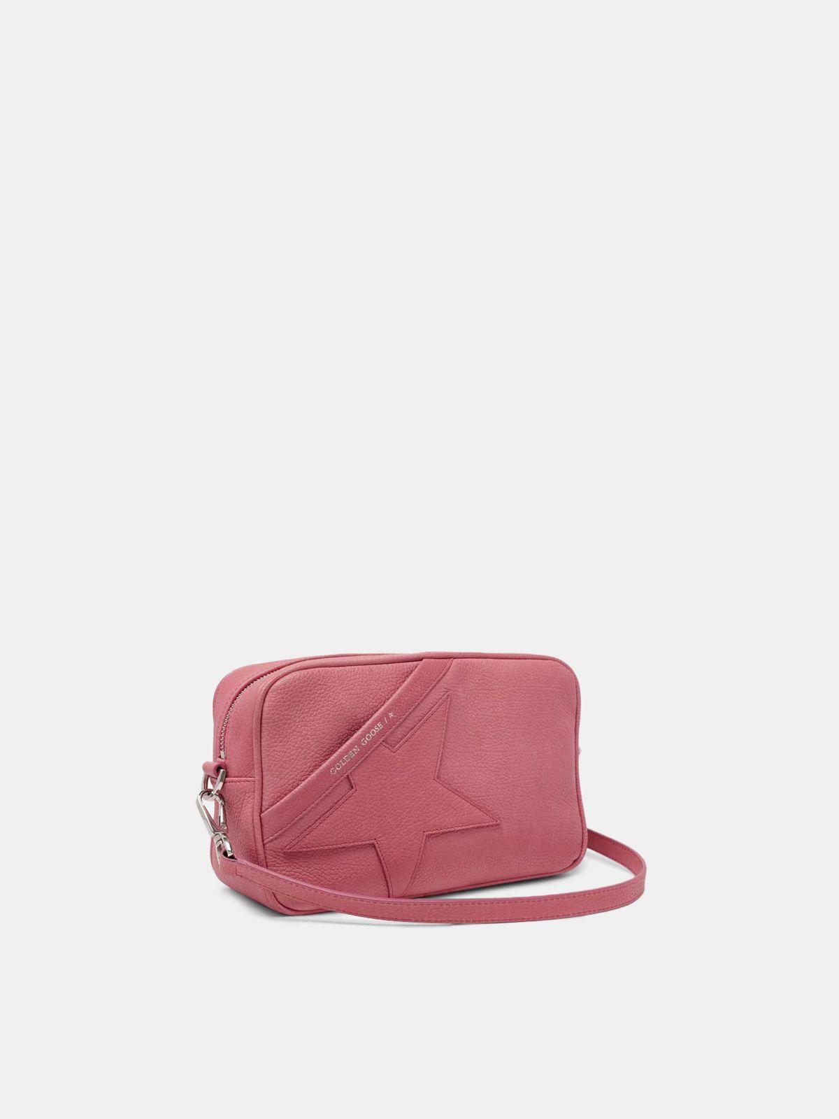 Golden Goose - Pink Star Bag with shoulder strap made of pebbled leather in