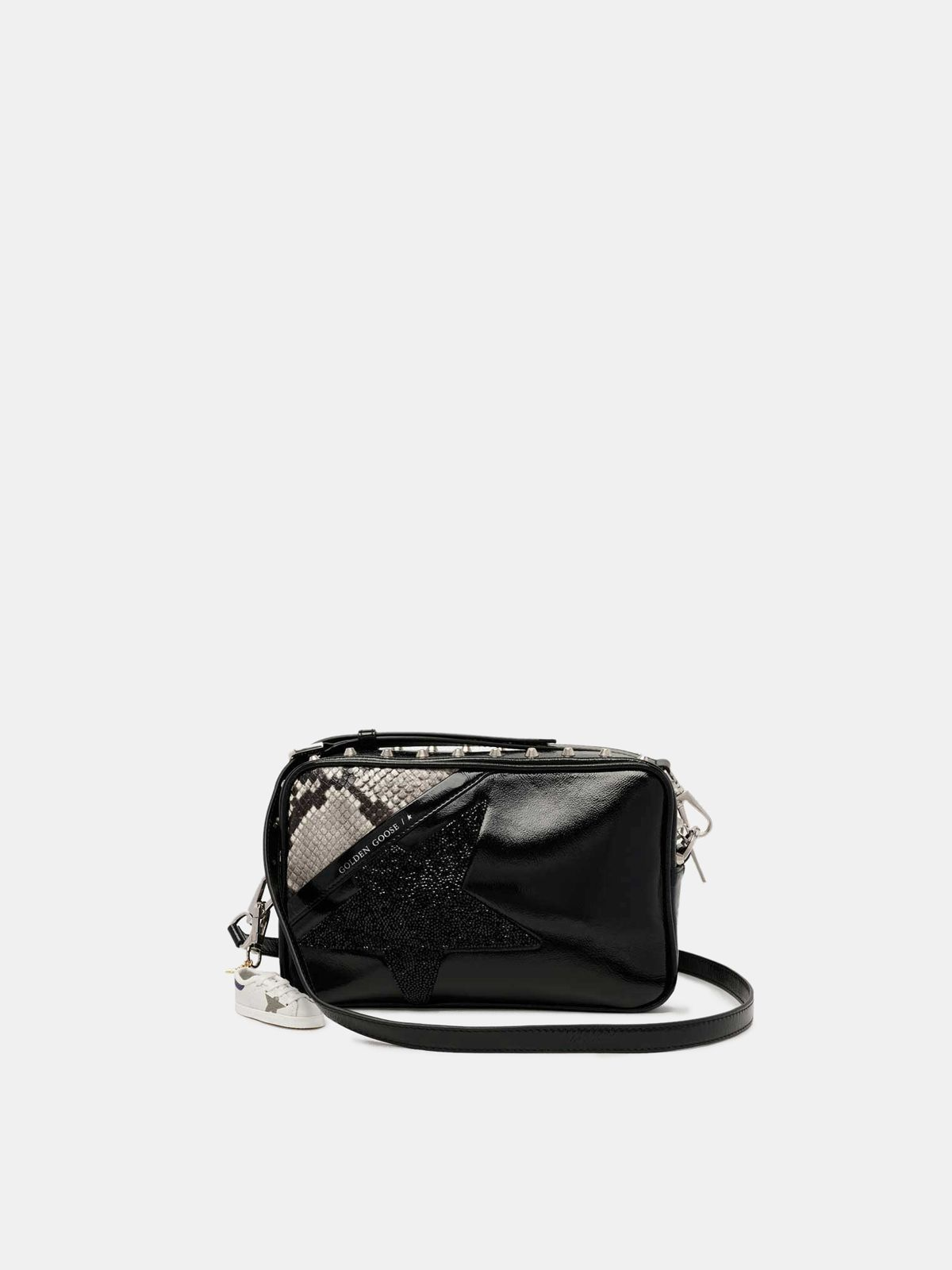 Golden Goose - Borsa Star Bag con borchie cristalli e stampa pitonata in