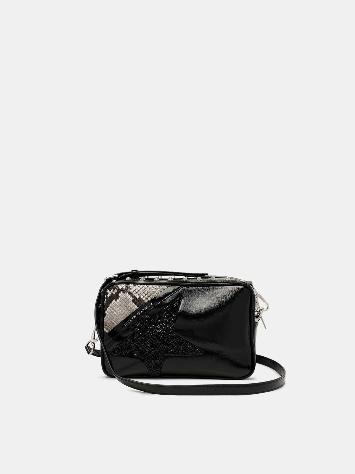 Golden Goose - Star Bag with studs, crystals and snakeskin print in