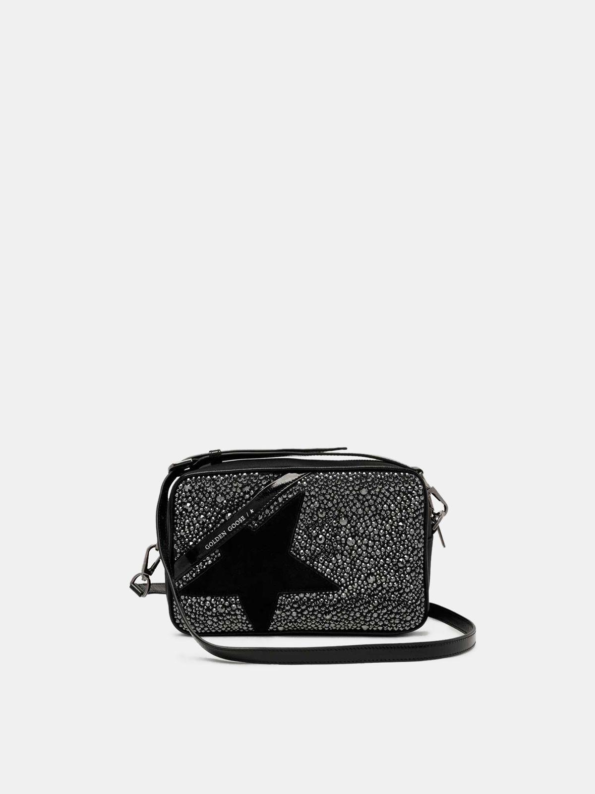 Golden Goose - Borsa Star Bag nera con cristalli in