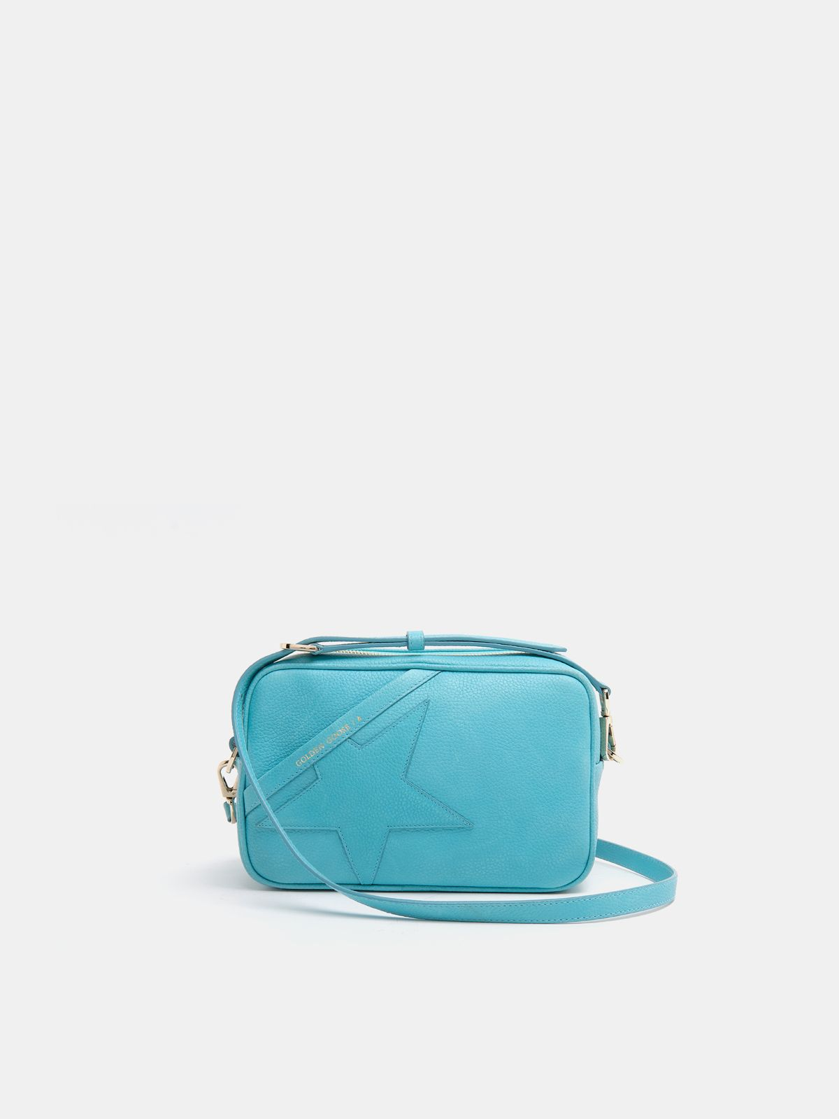 Golden Goose - Turquoise Star Bag made of hammered leather in