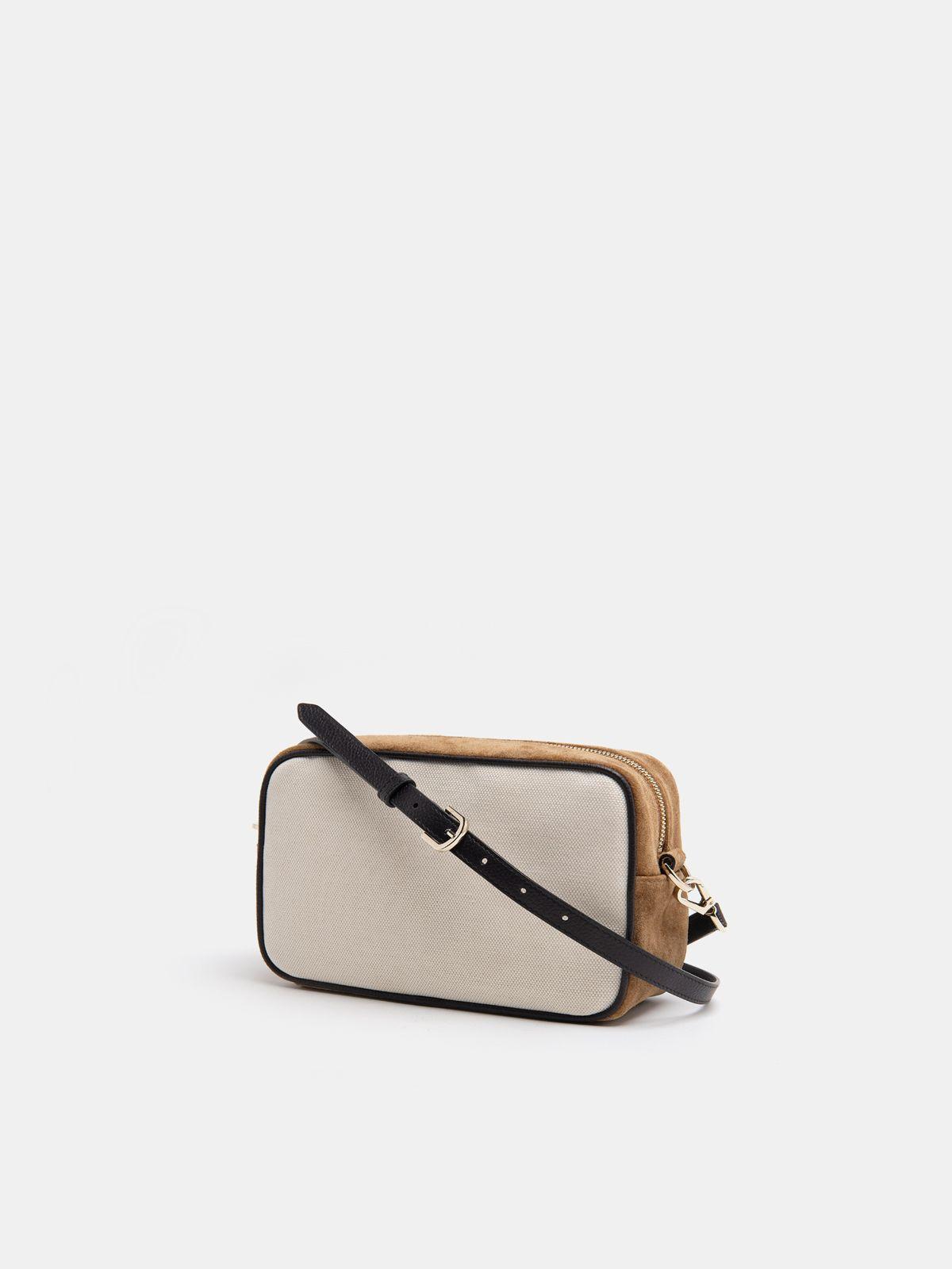 Golden Goose - Borsa Star Bag in tela e pelle scamosciata marrone stella nera in