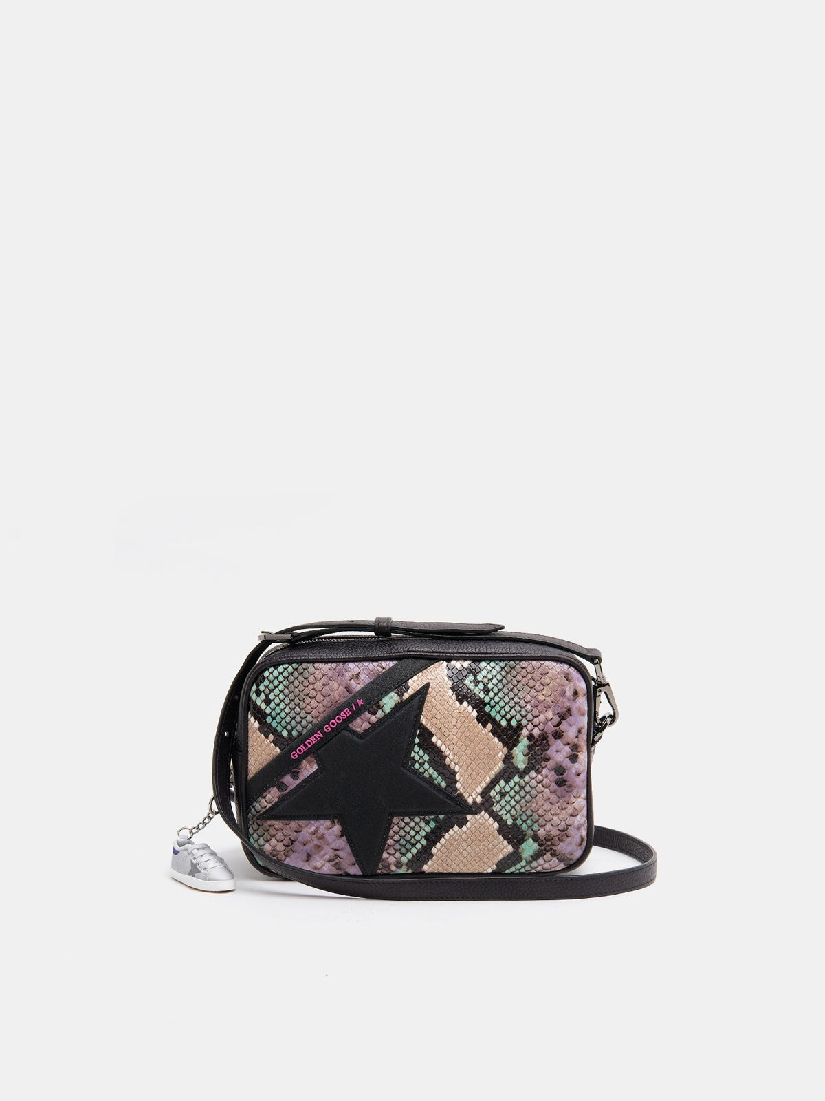 Golden Goose - Star Bag with python print and glitter star in